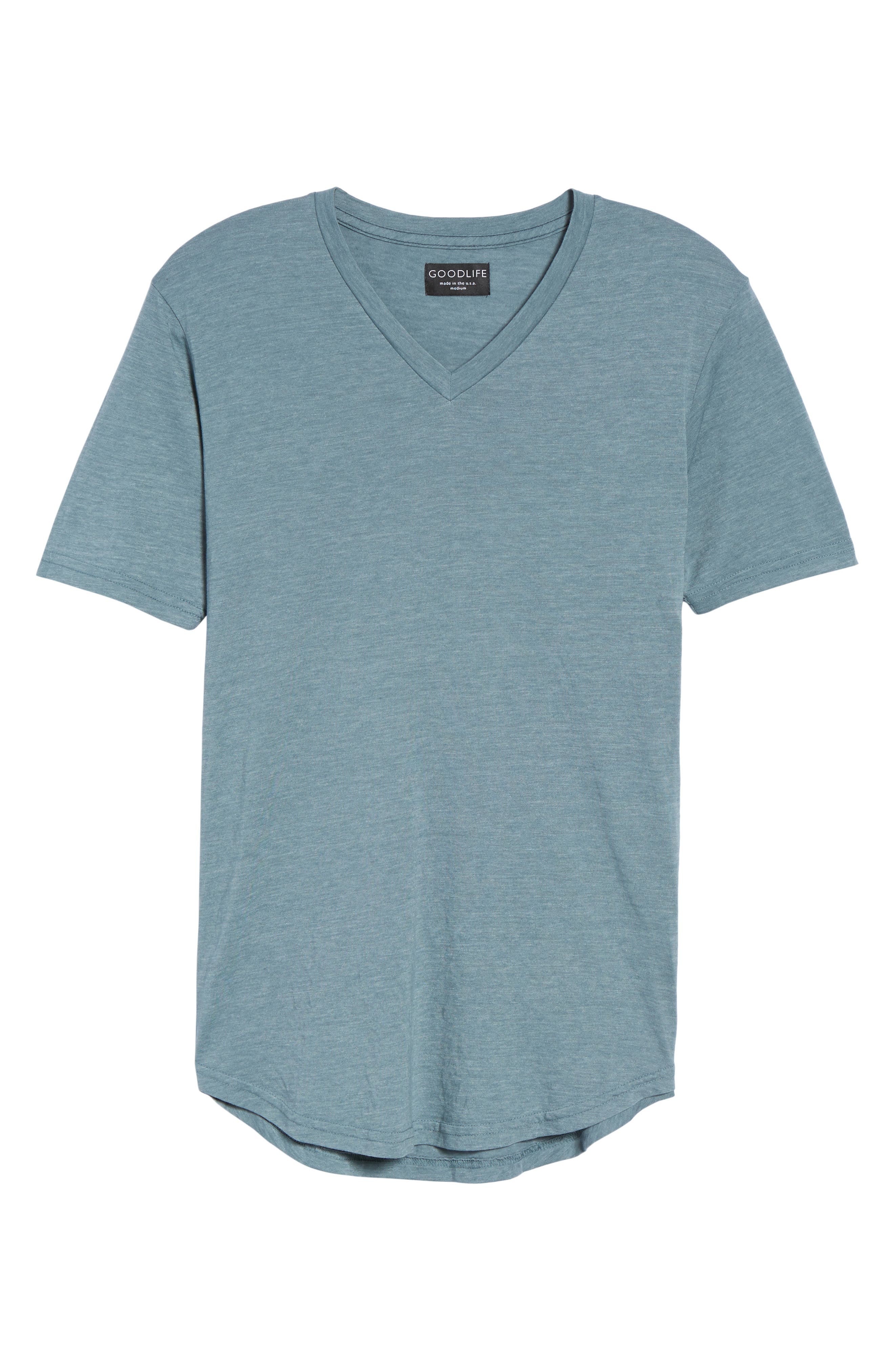 Scallop Triblend V-Neck T-Shirt,                             Alternate thumbnail 6, color,                             Real Teal