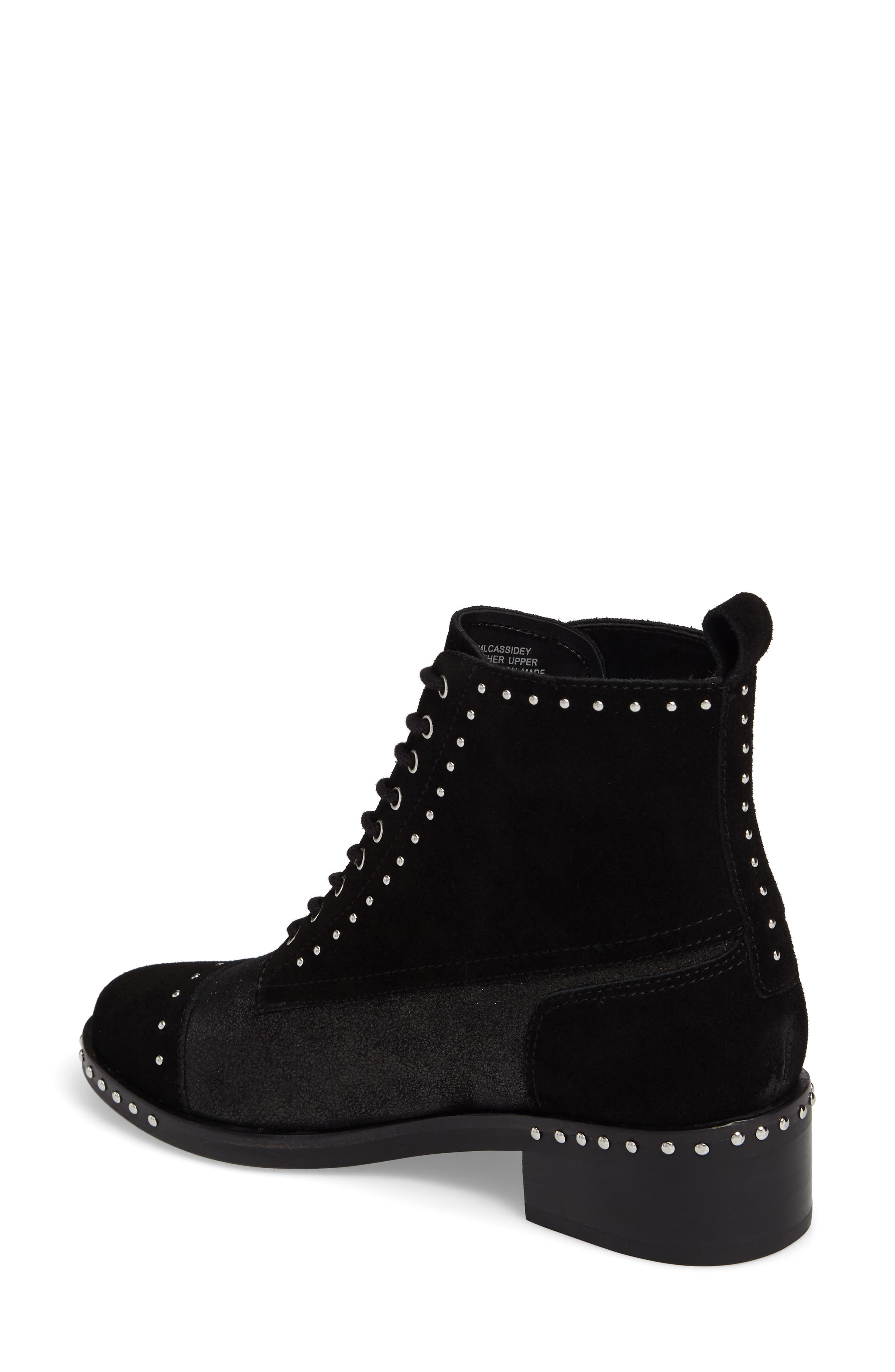 Cassidey Studded Cap Toe Bootie,                             Alternate thumbnail 2, color,                             Black Suede