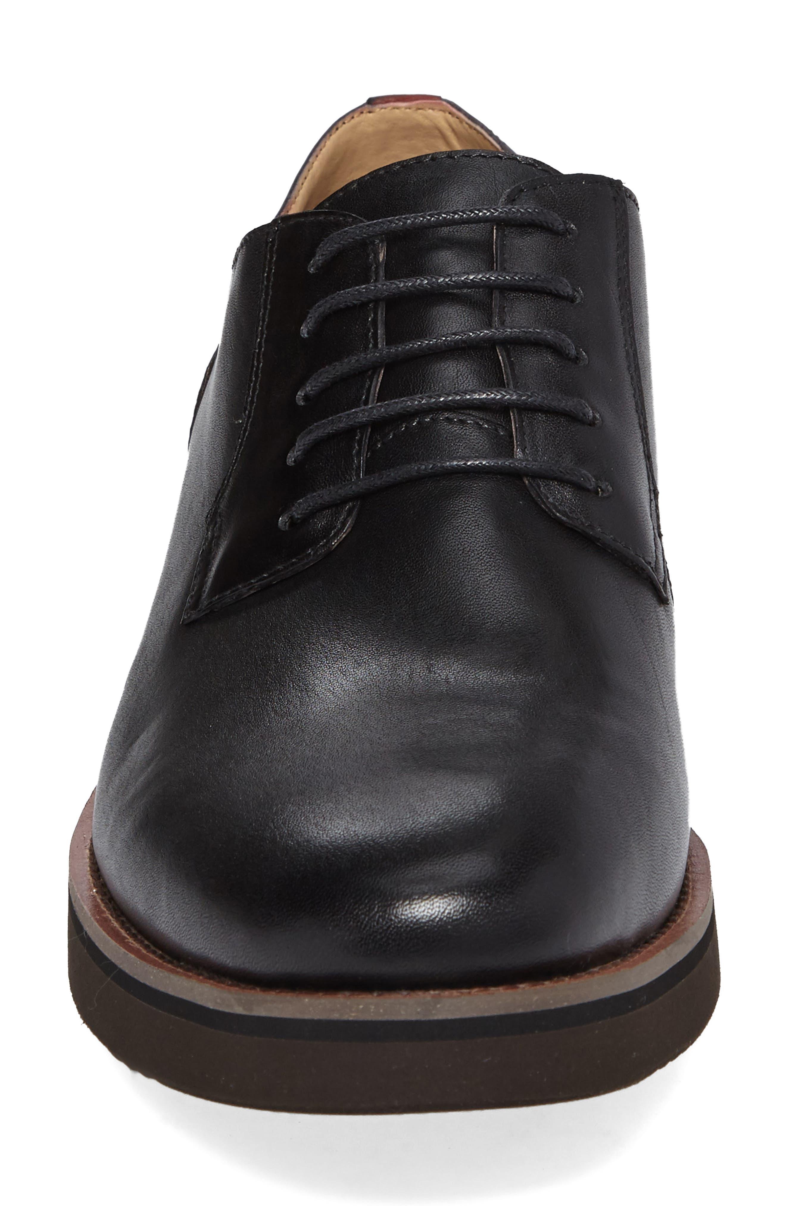 Saxon Plain Toe Derby,                             Alternate thumbnail 4, color,                             Black Leather