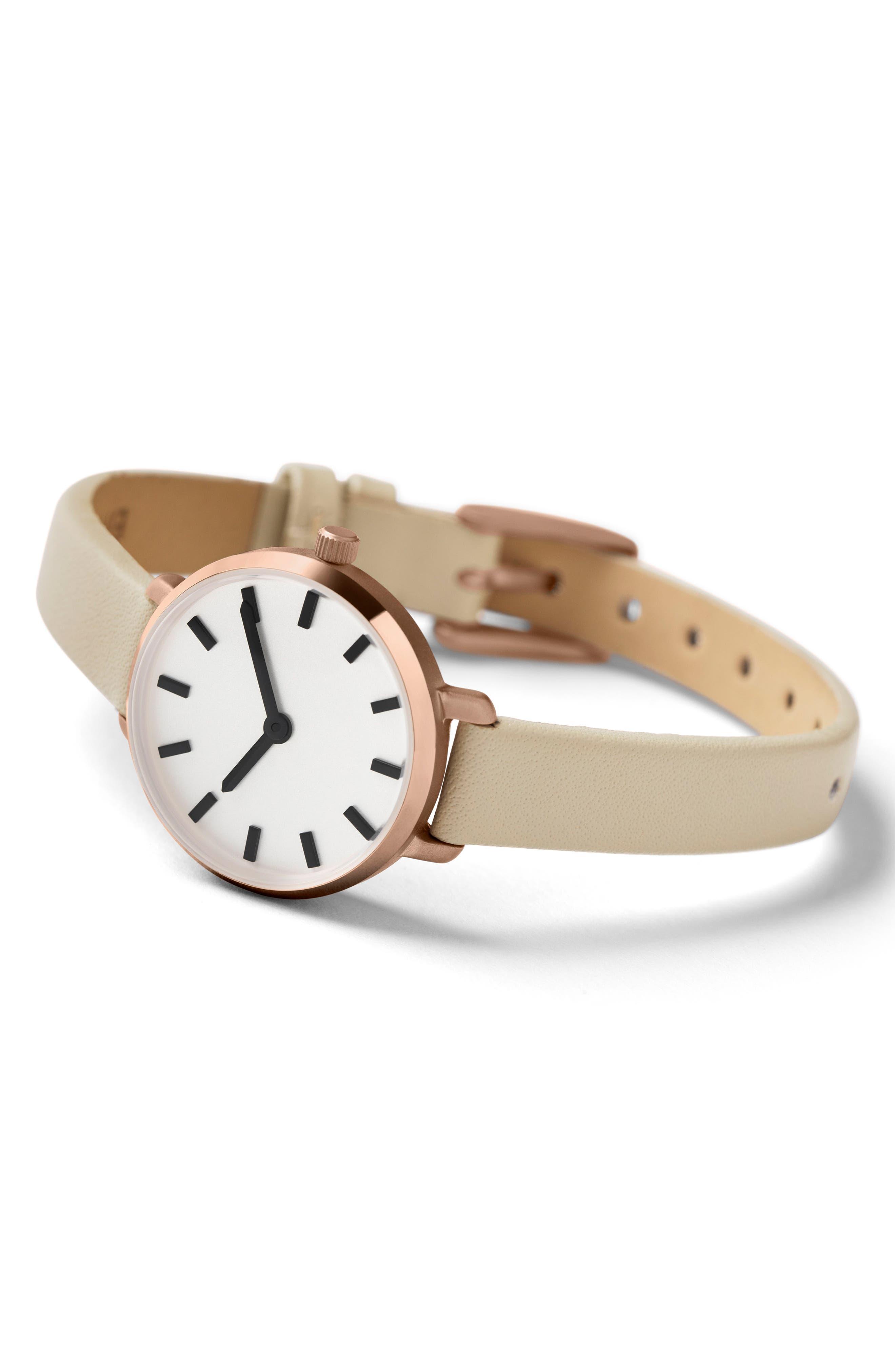 Alternate Image 3  - BREDA Beverly Round Leather Strap Watch, 26mm