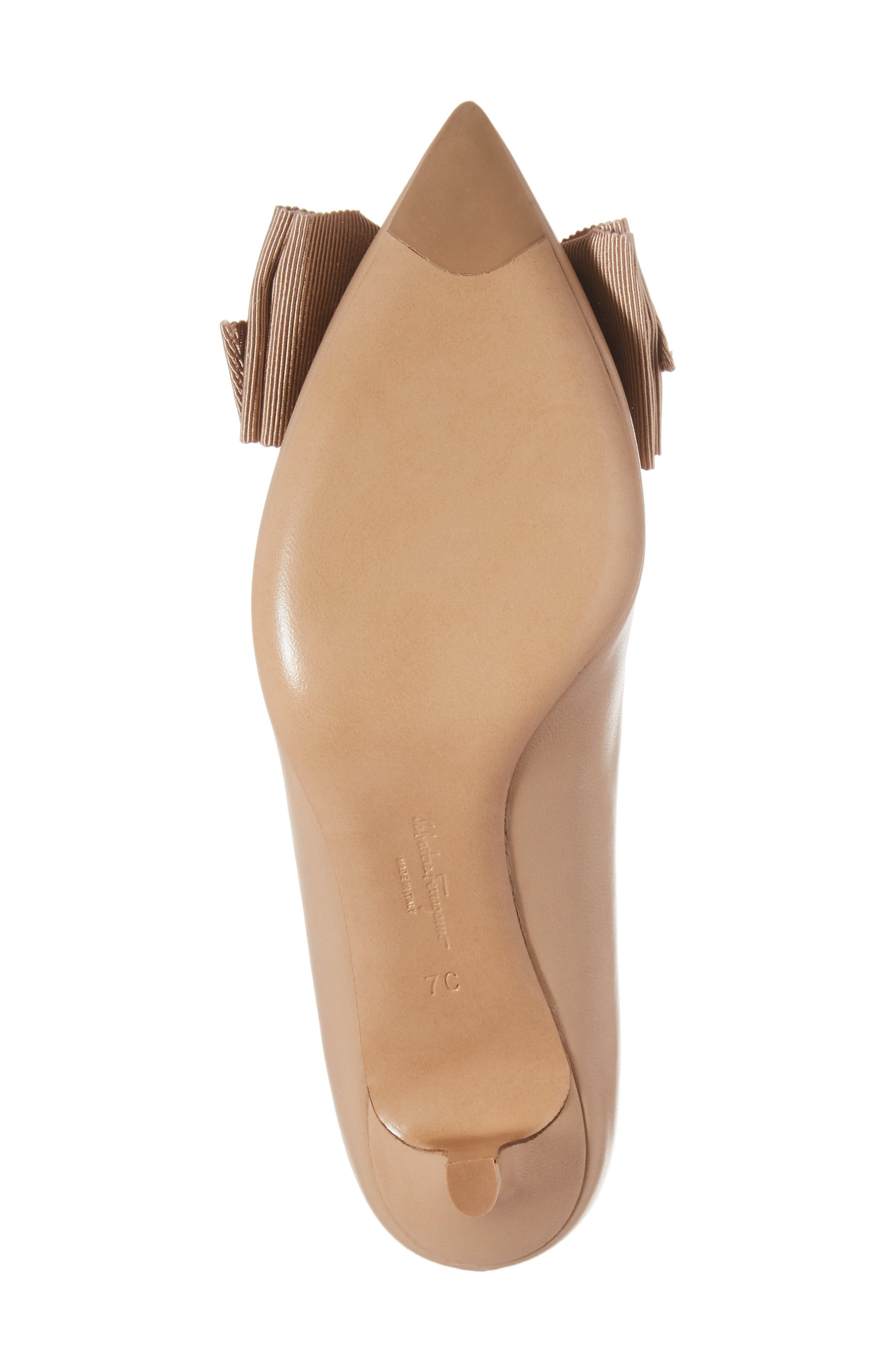 Talla Bow Pointy Toe Pump,                             Alternate thumbnail 6, color,                             Almond