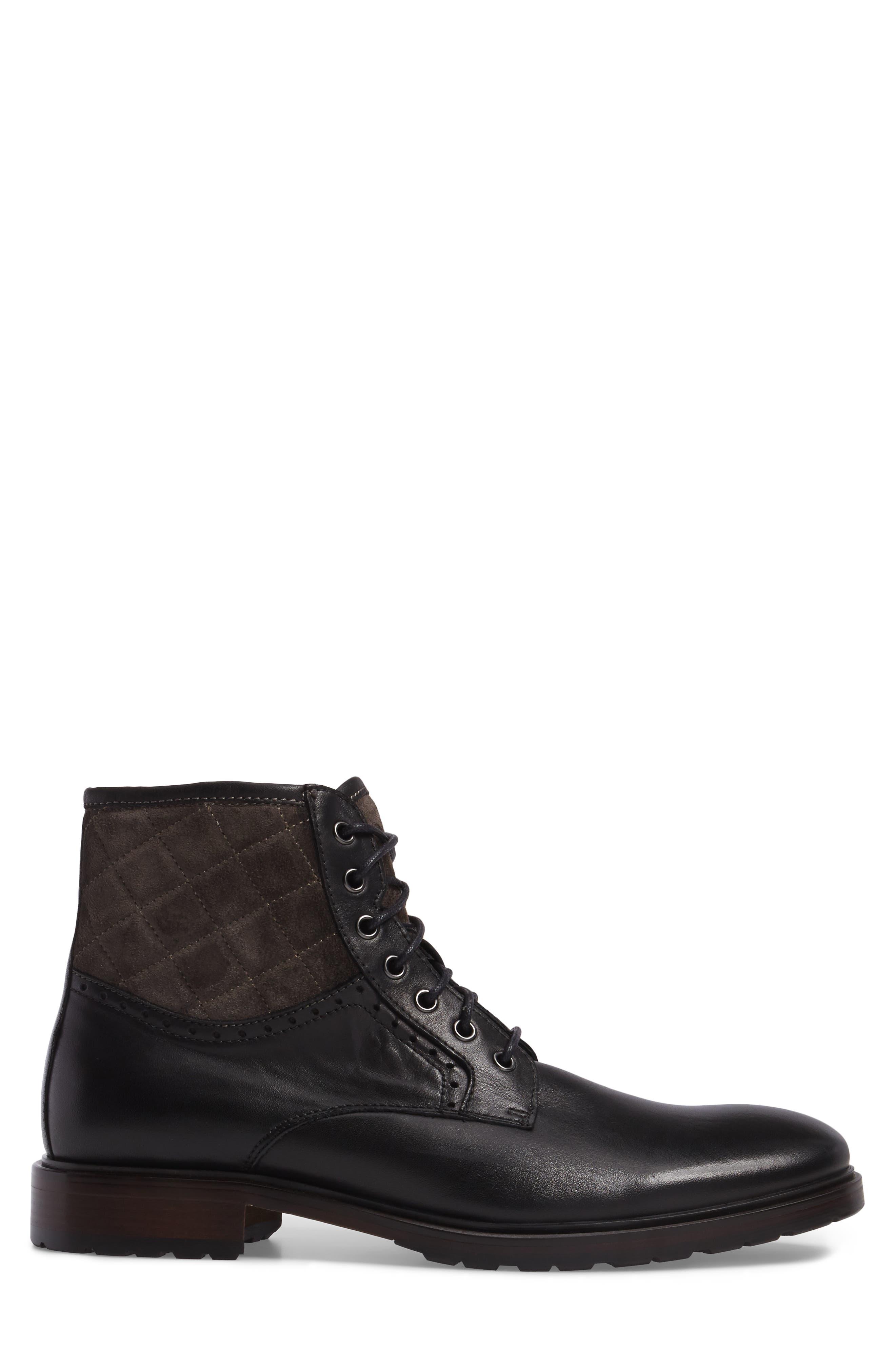 Myles Plain Toe Boot,                             Alternate thumbnail 3, color,                             Black Leather