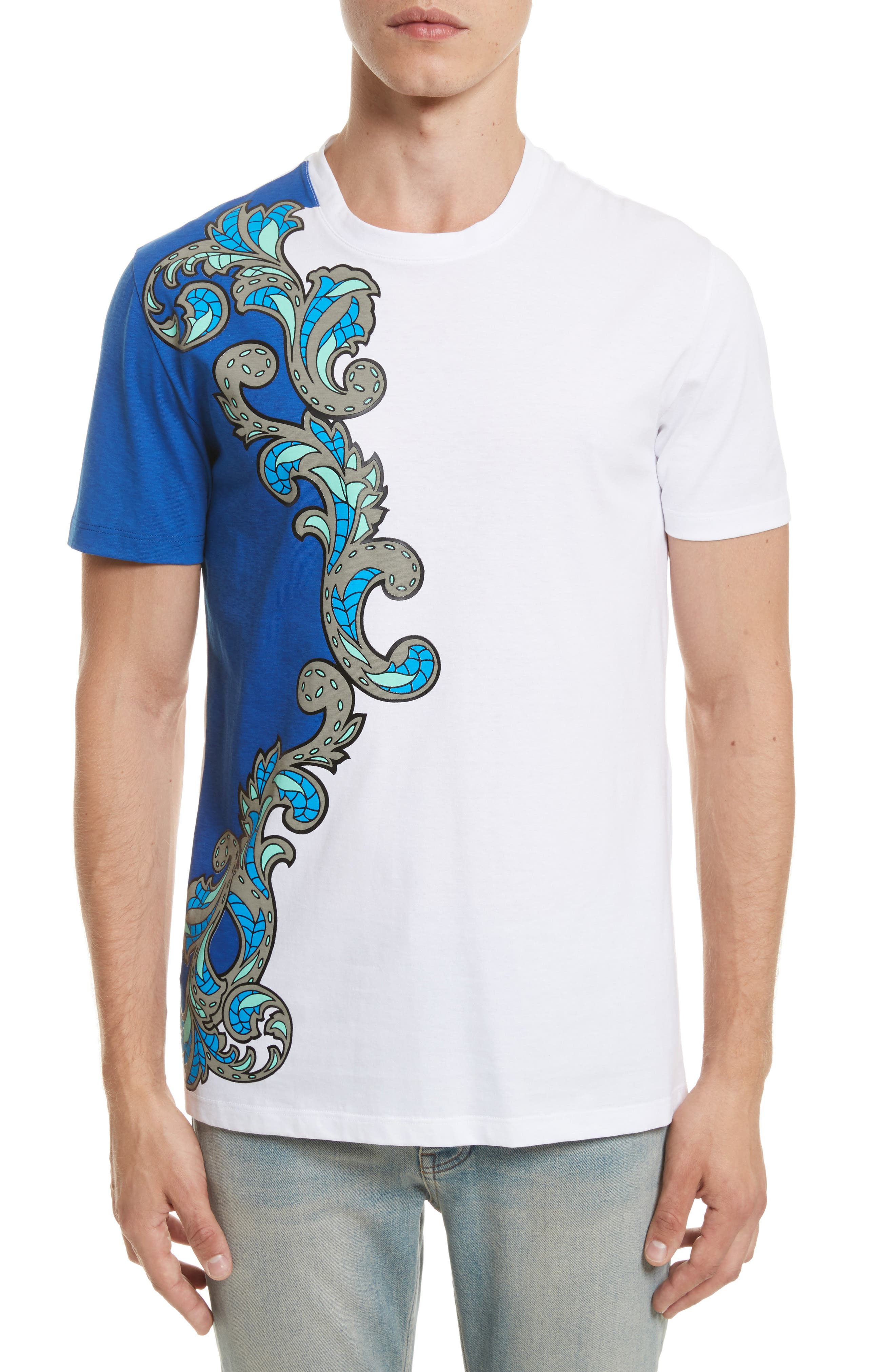 Baroque Print T-Shirt,                         Main,                         color, Royal Blue