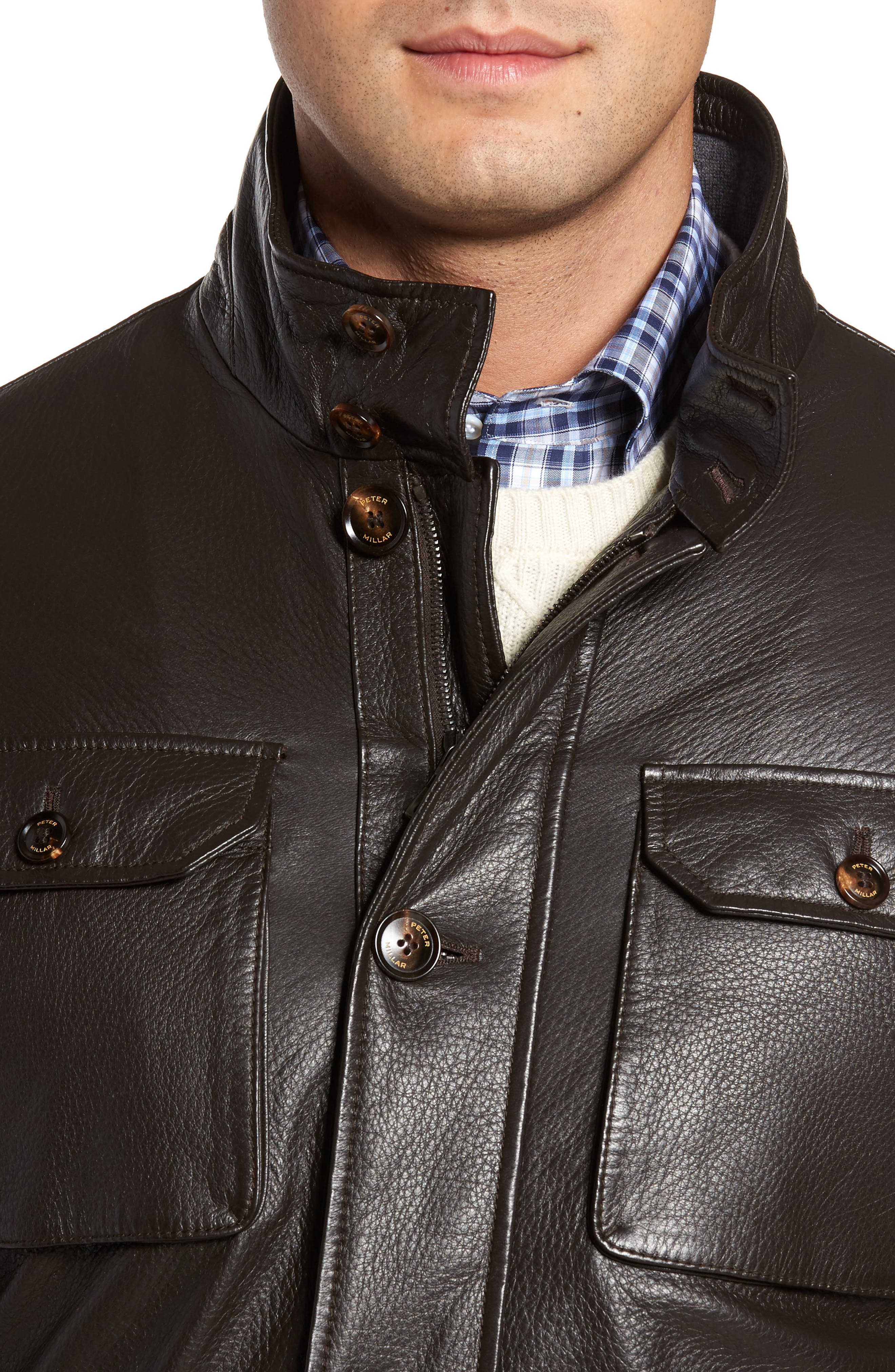 Woodland Discovery Deerskin Leather Jacket,                             Alternate thumbnail 4, color,                             Espresso