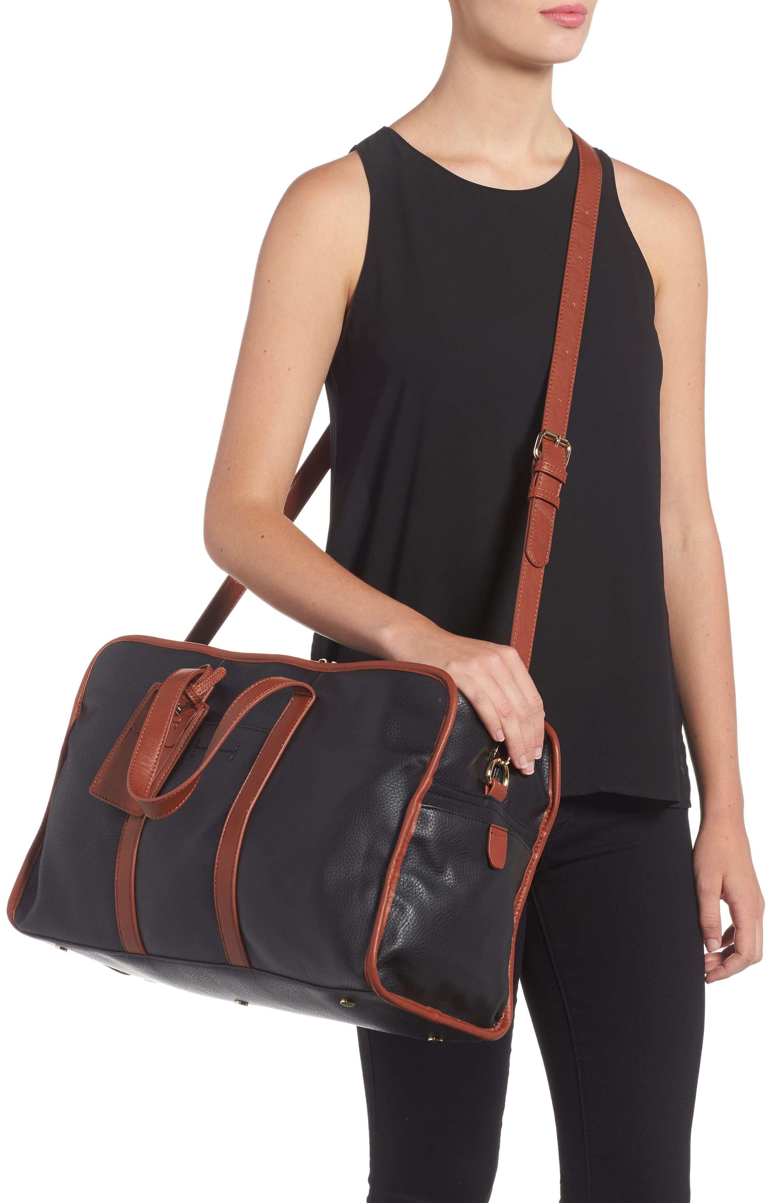Doxin Faux Leather Duffel Bag,                             Alternate thumbnail 2, color,                             Black/ Cognac