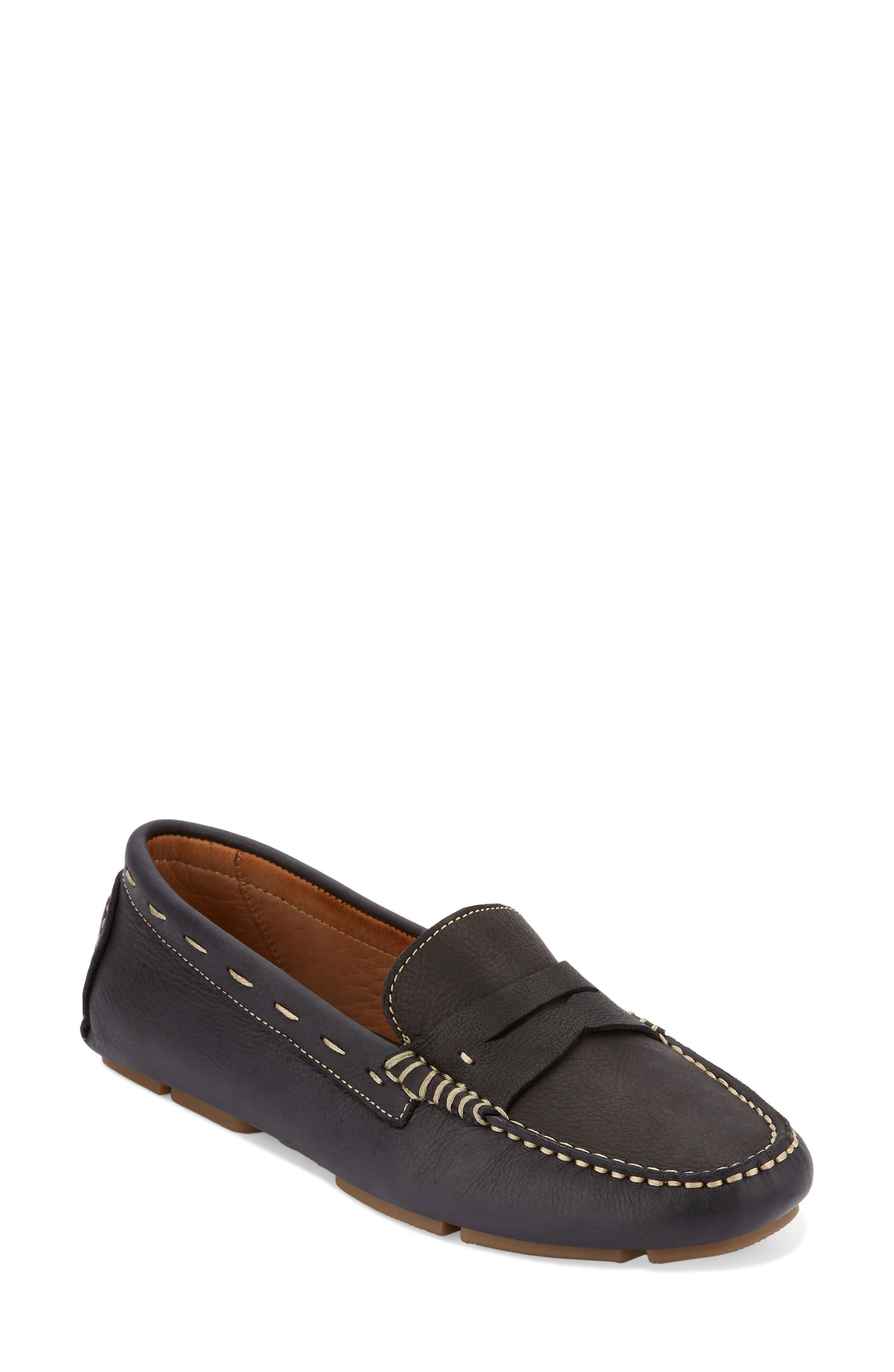 Patricia Driving Moccasin,                         Main,                         color, Black Leather