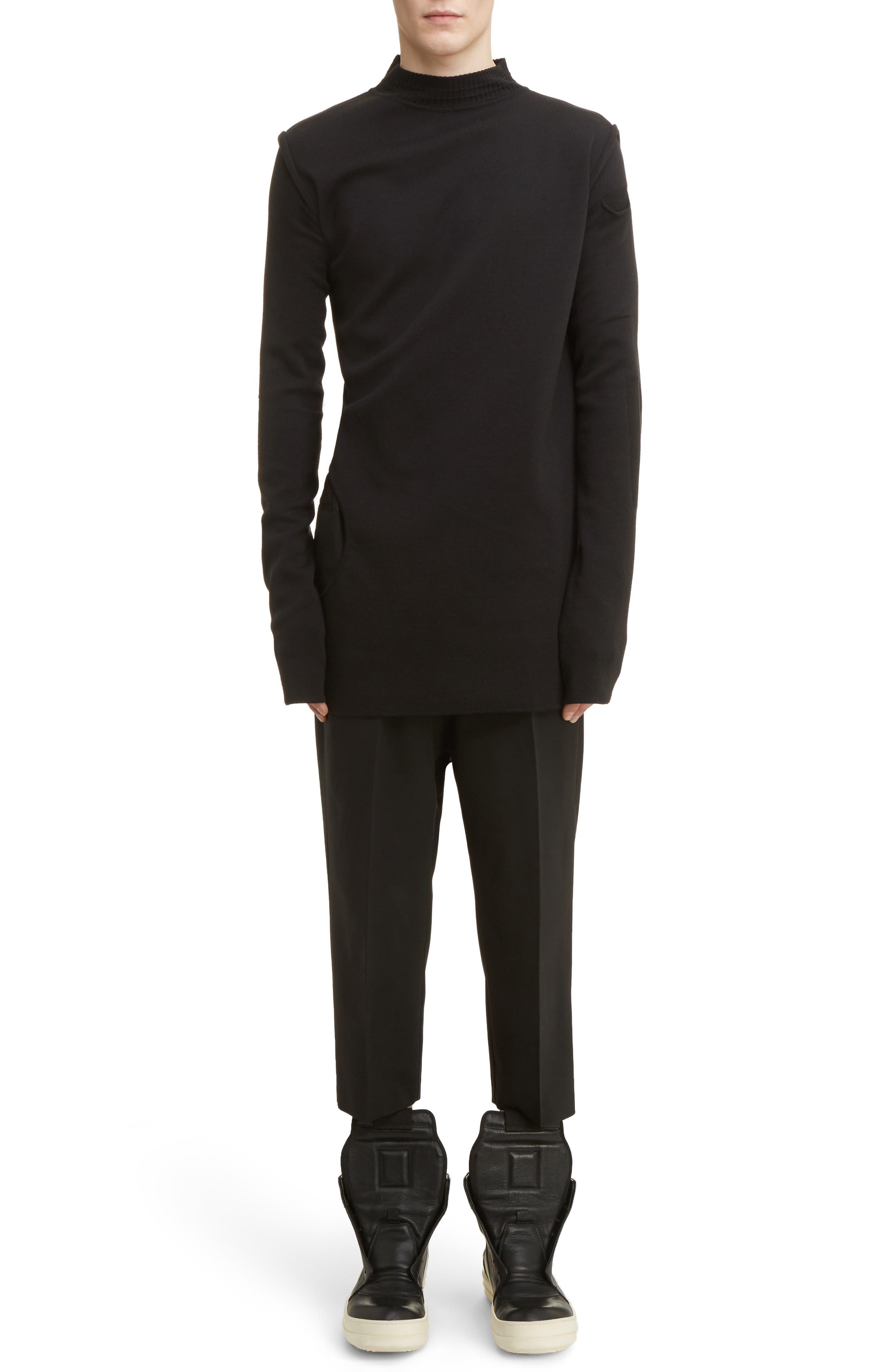 Cropped Wool Blend Pants,                             Alternate thumbnail 8, color,                             Black