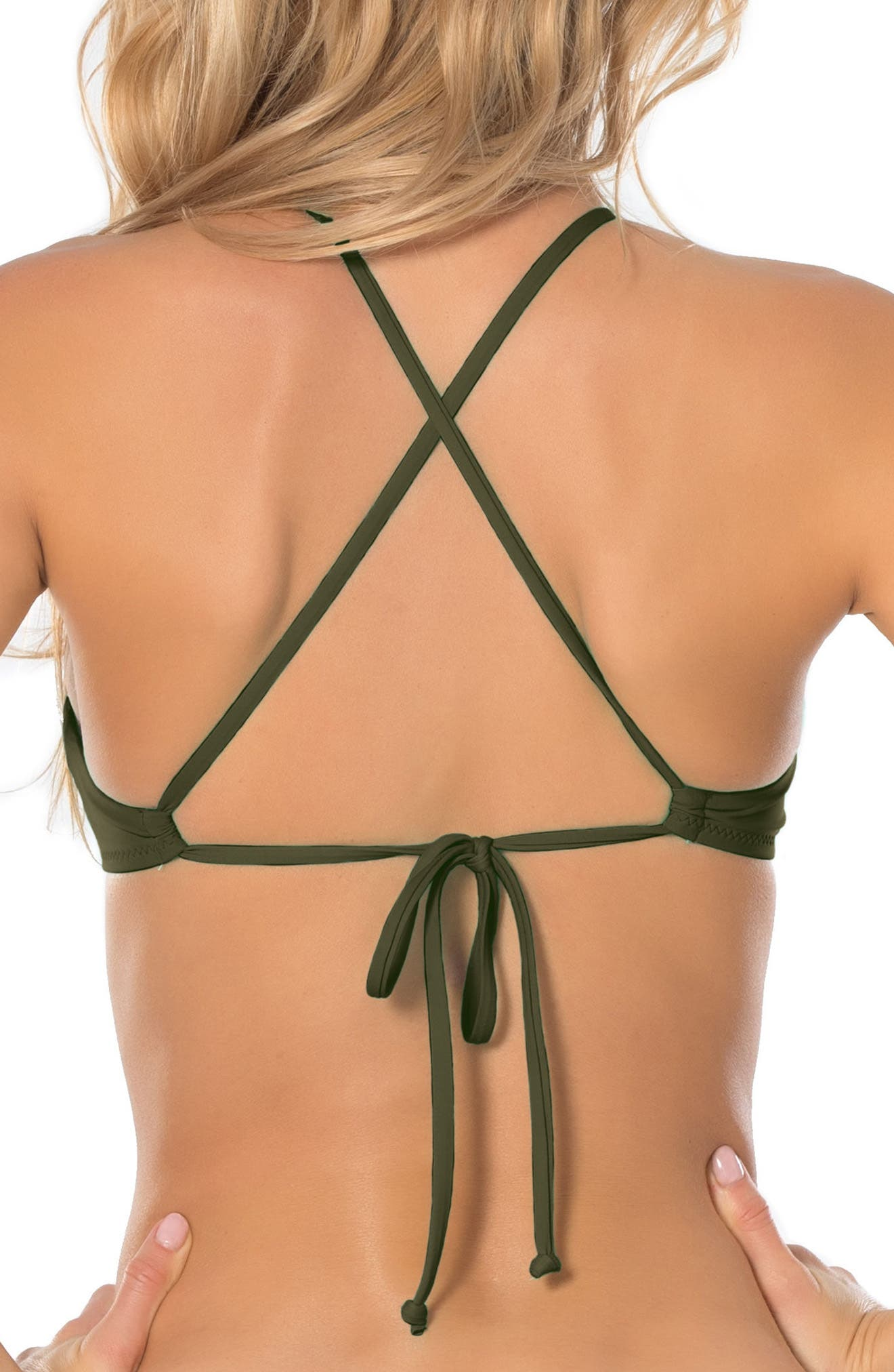 Color Code Halter Bikini Top,                             Alternate thumbnail 2, color,                             Bay Leaf