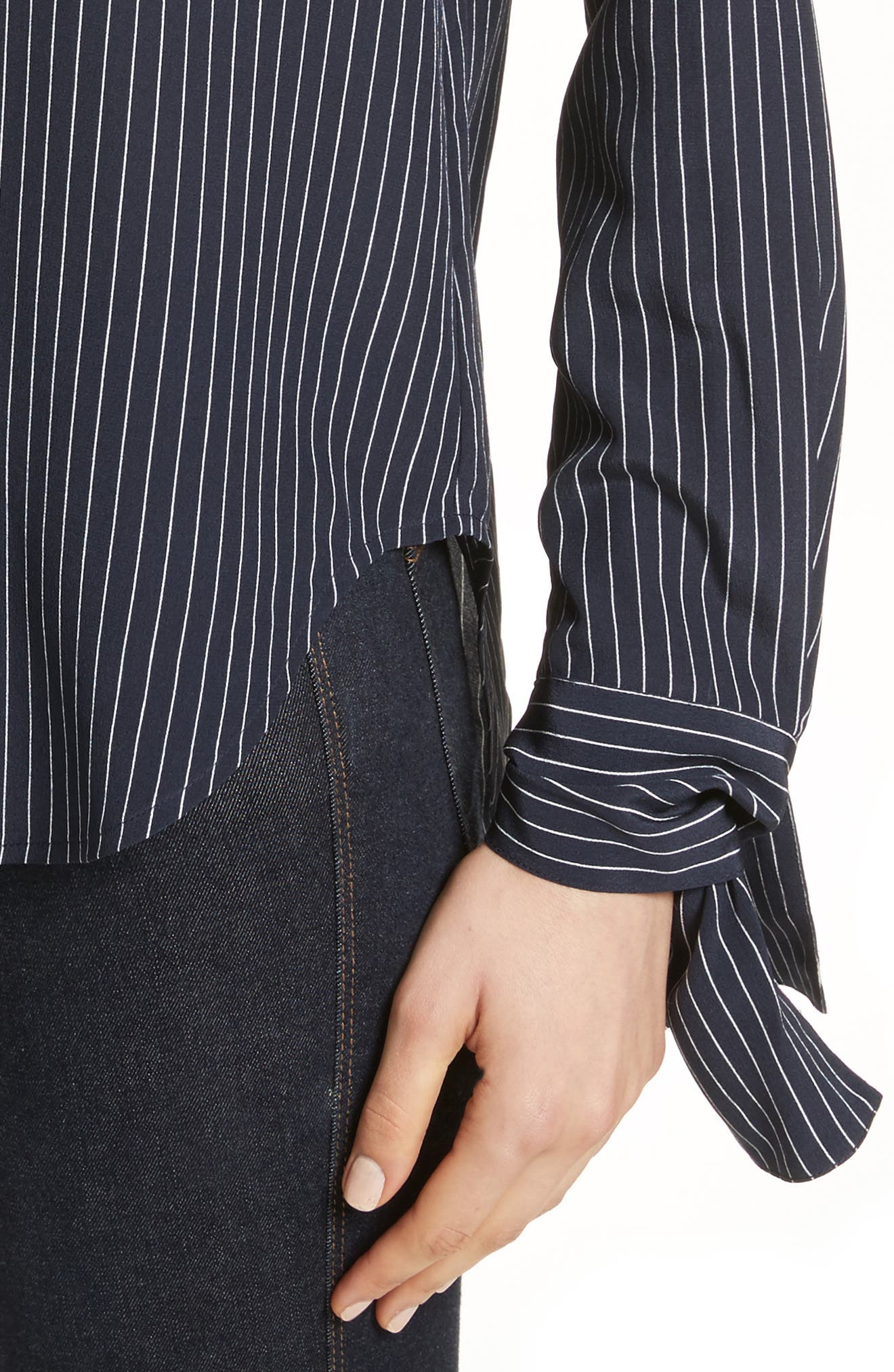 Tie Cuff Pinstripe Silk Blouse,                             Alternate thumbnail 4, color,                             Deep Navy/ Ivory