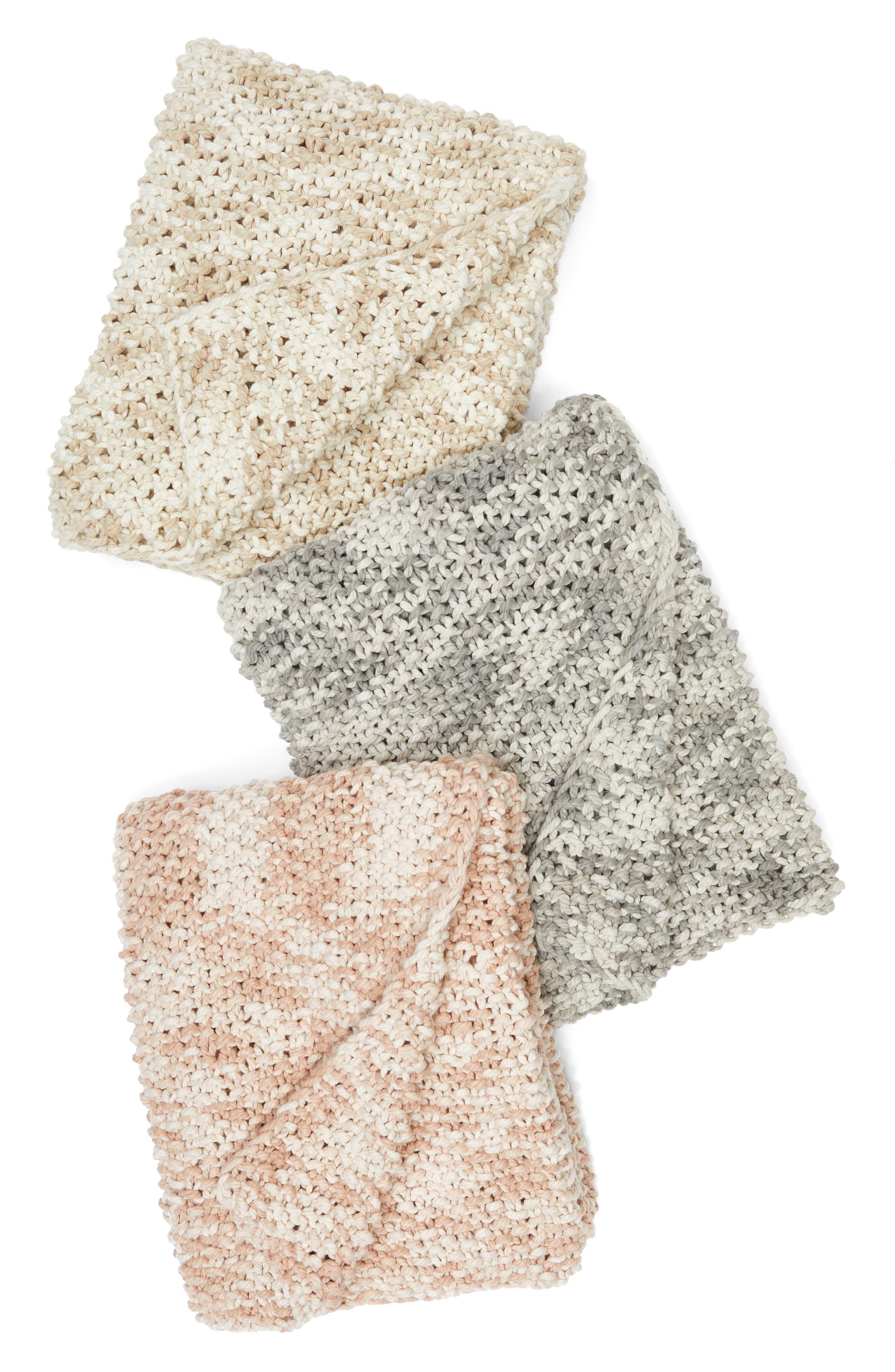 Space Dye Knit Throw,                             Alternate thumbnail 3, color,                             Ivory