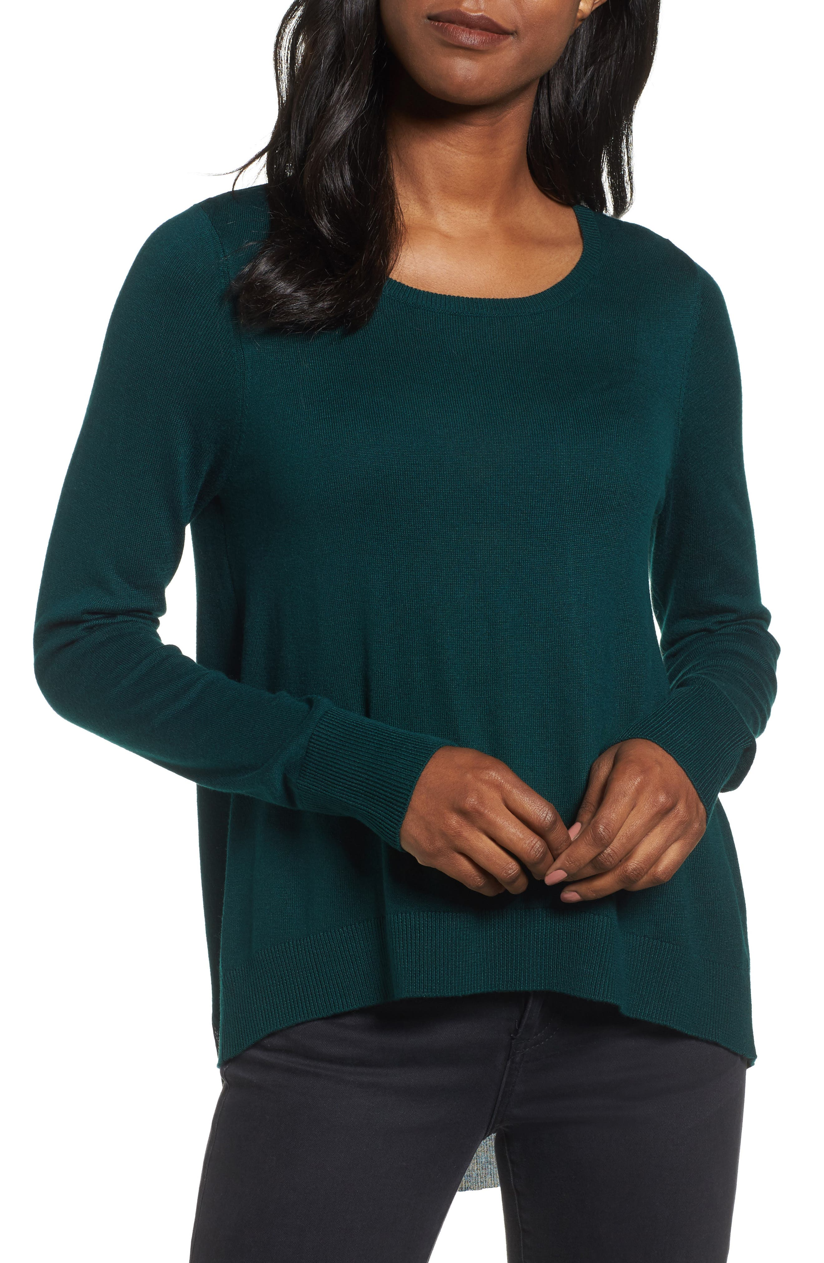 Halogen® Woven Back Sweater
