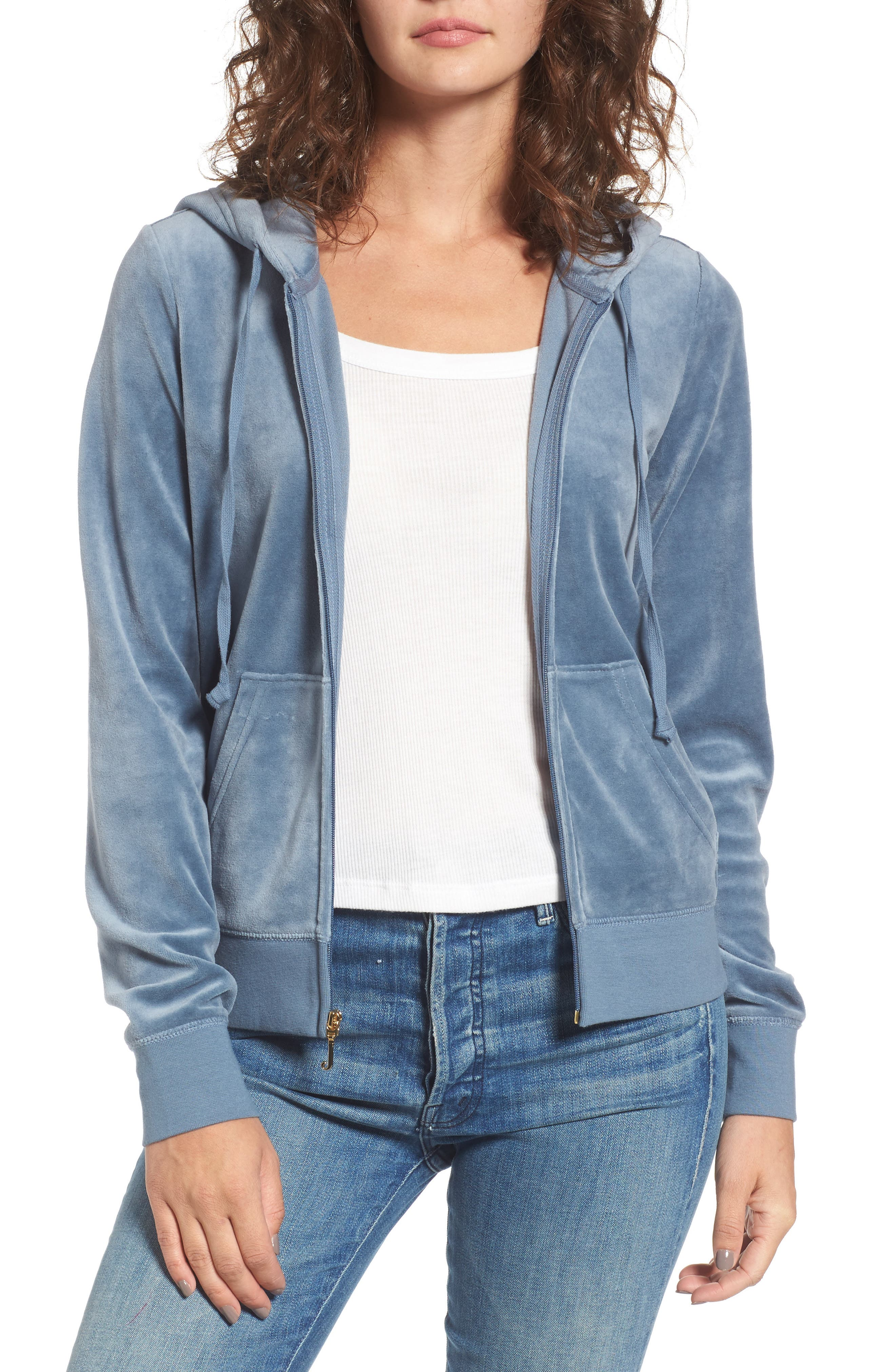 Robertson Crystal Velour Hoodie,                         Main,                         color, Dusty Navy