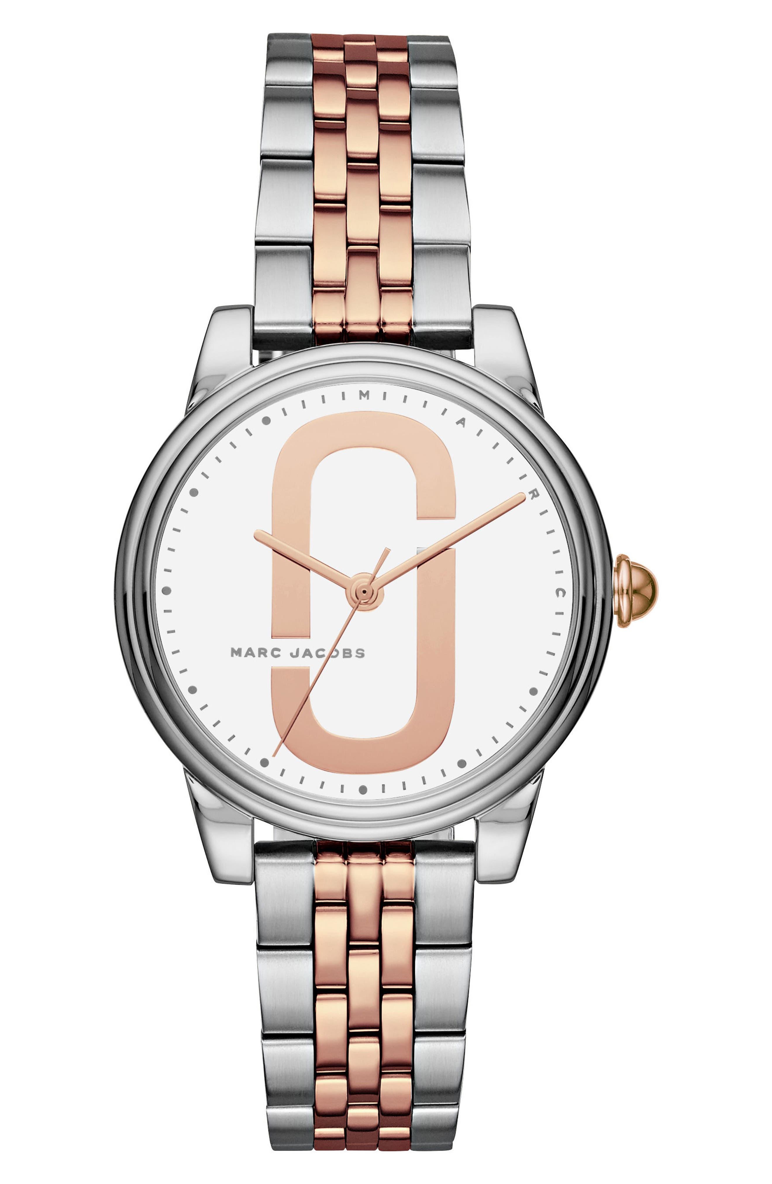 Corie Bracelet Watch, 36mm,                             Main thumbnail 1, color,                             Silver/ White/ Rose Gold