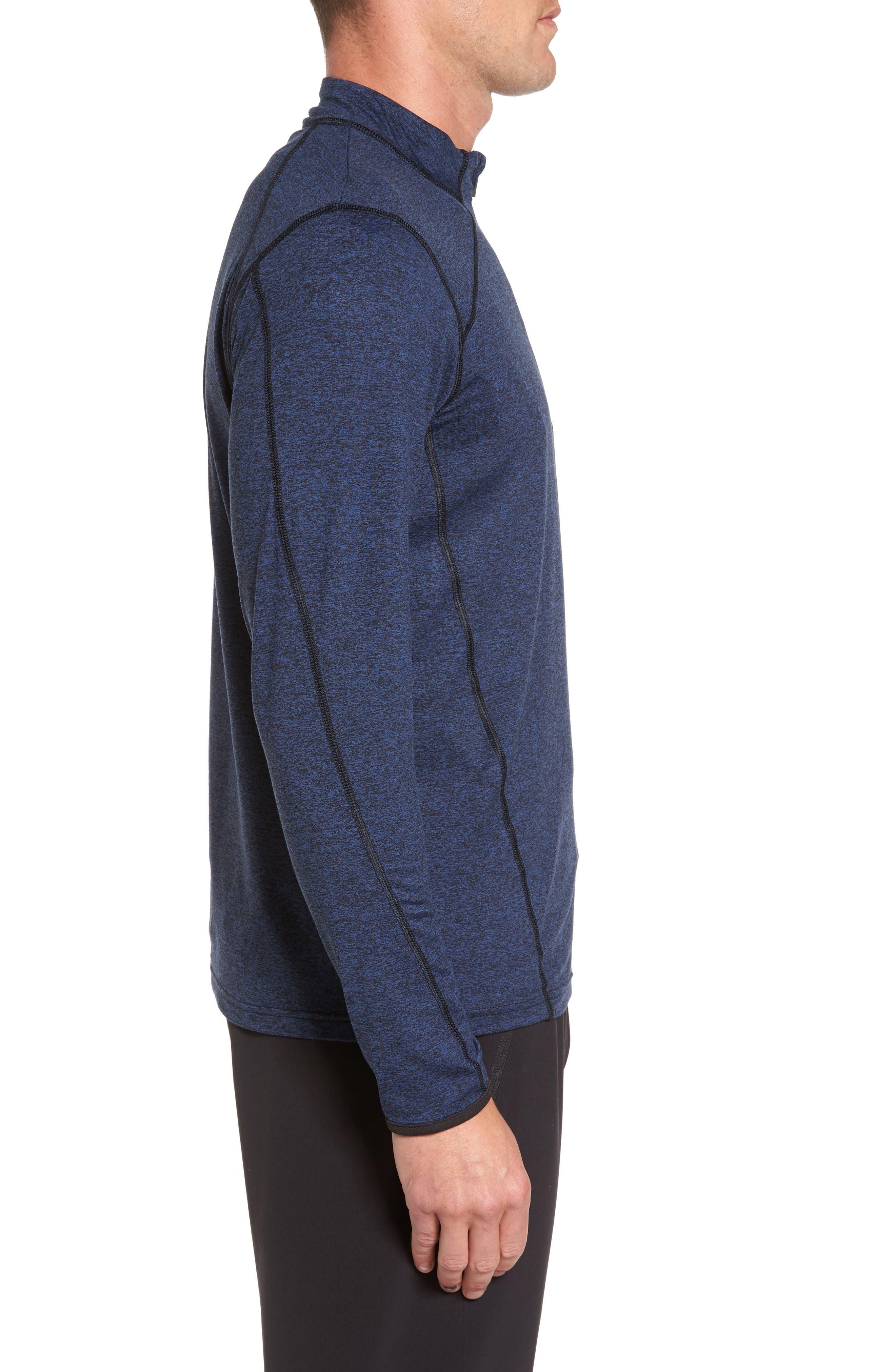 'Elevate' Moisture Wicking Stretch Quarter Zip Pullover,                             Alternate thumbnail 3, color,                             Navy Black/ Black/ White