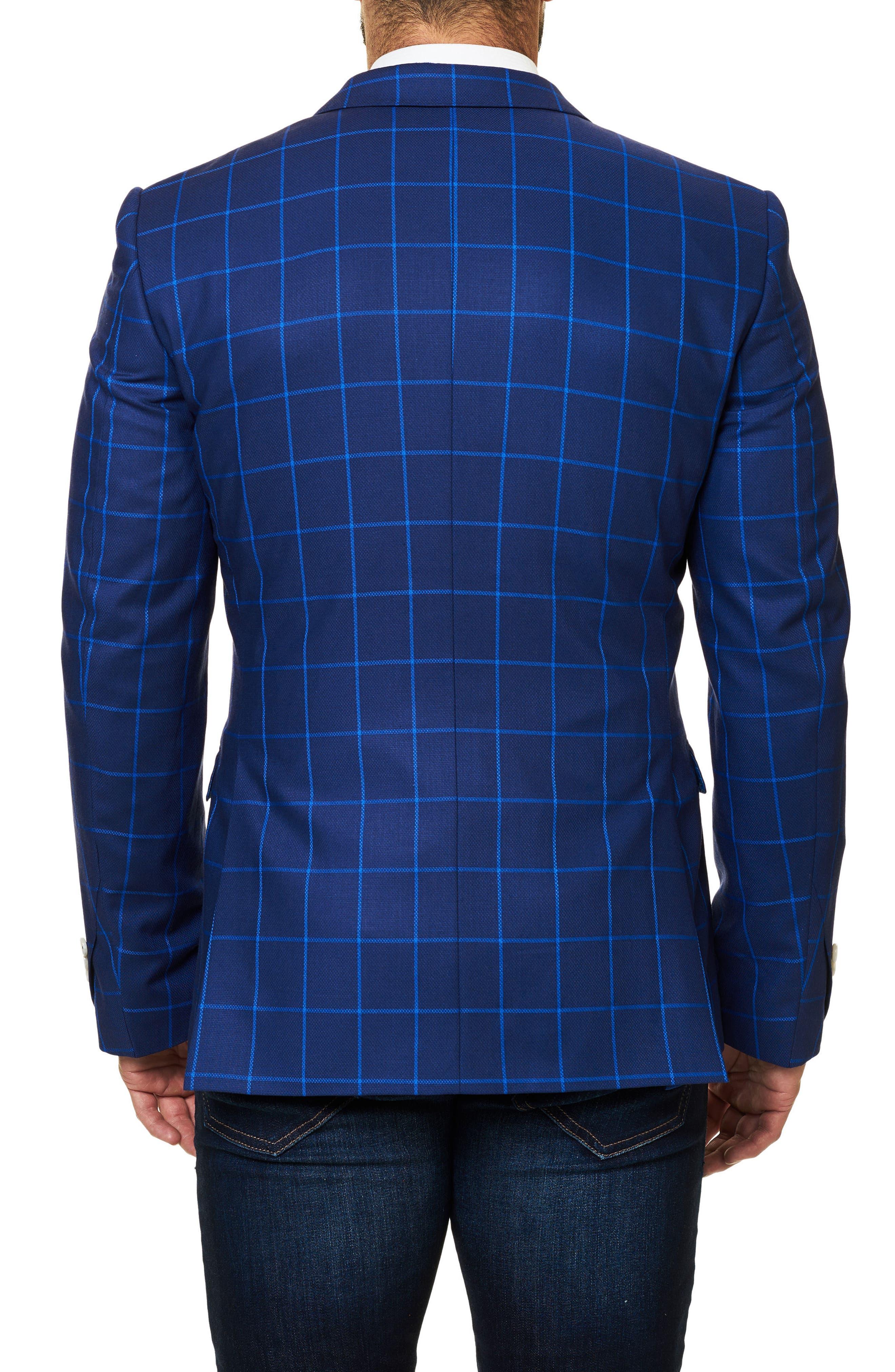 Descarte Windowpane Sport Coat,                             Alternate thumbnail 2, color,                             Medium Blue
