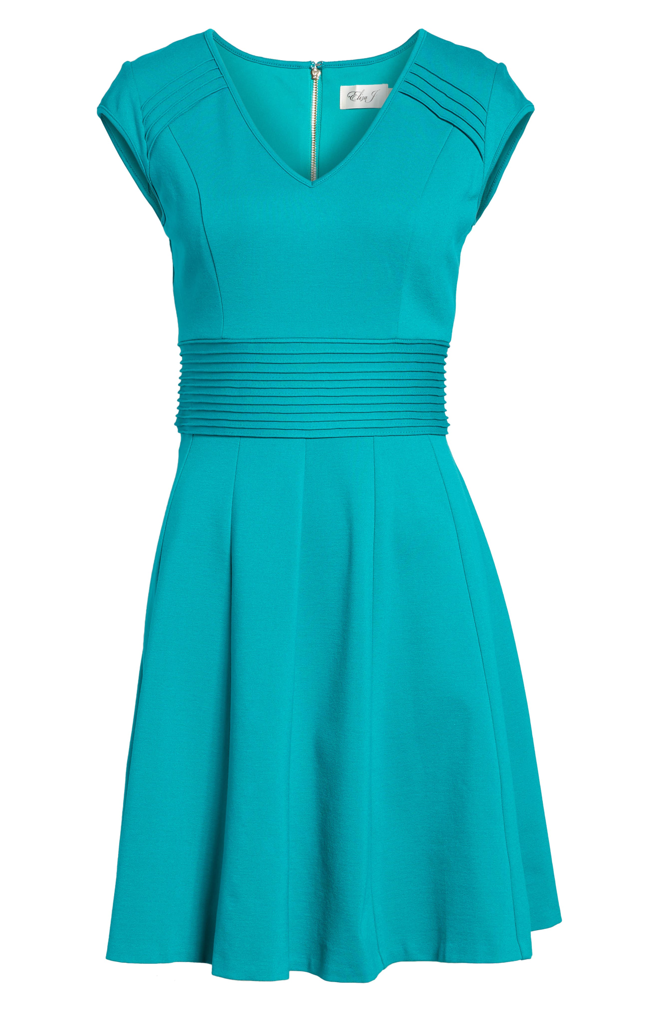Ponte Fit & Flare Dress,                             Alternate thumbnail 7, color,                             Teal