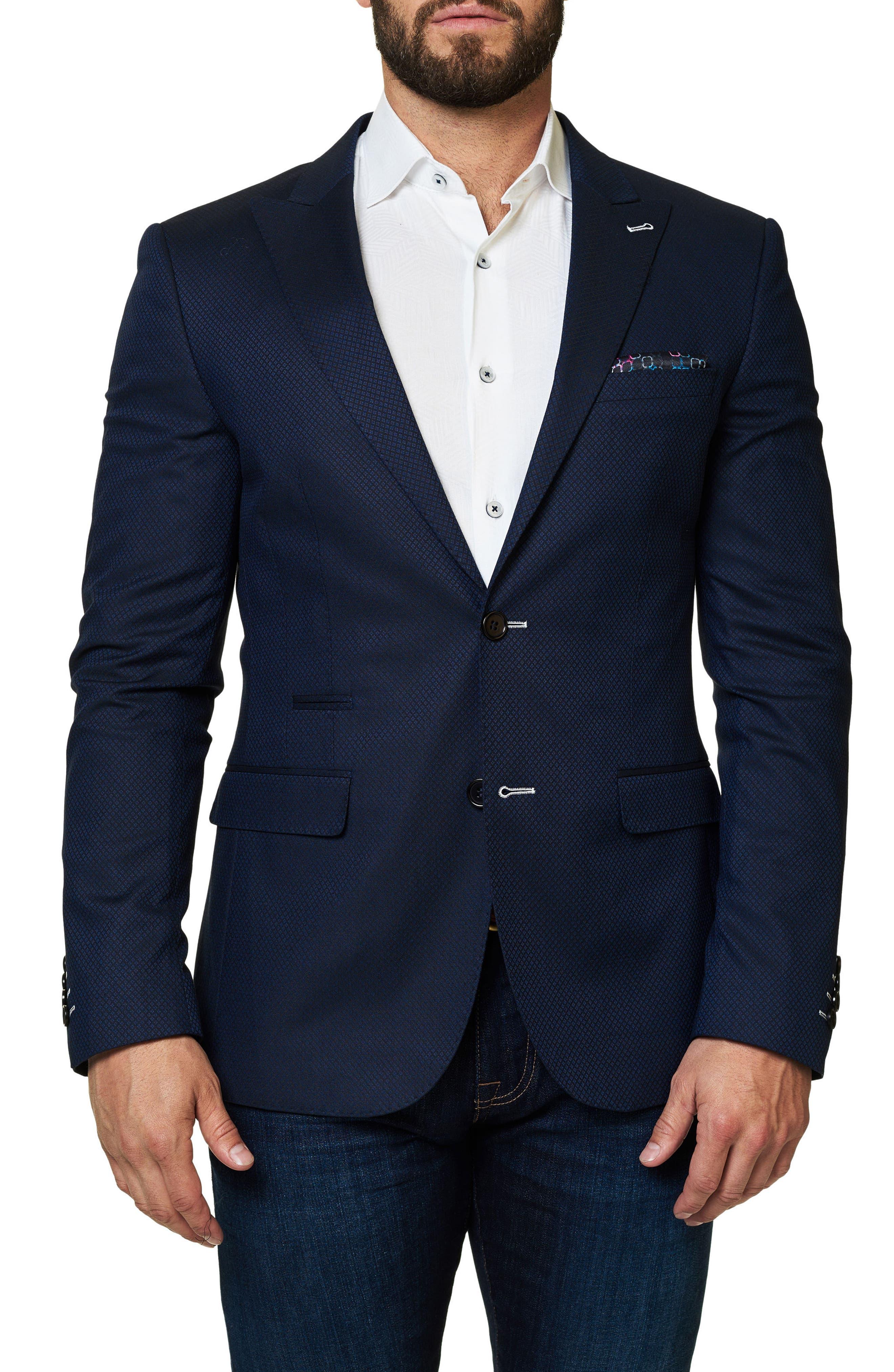 Elegance Dobby Diamond Sport Coat,                         Main,                         color, Medium Blue