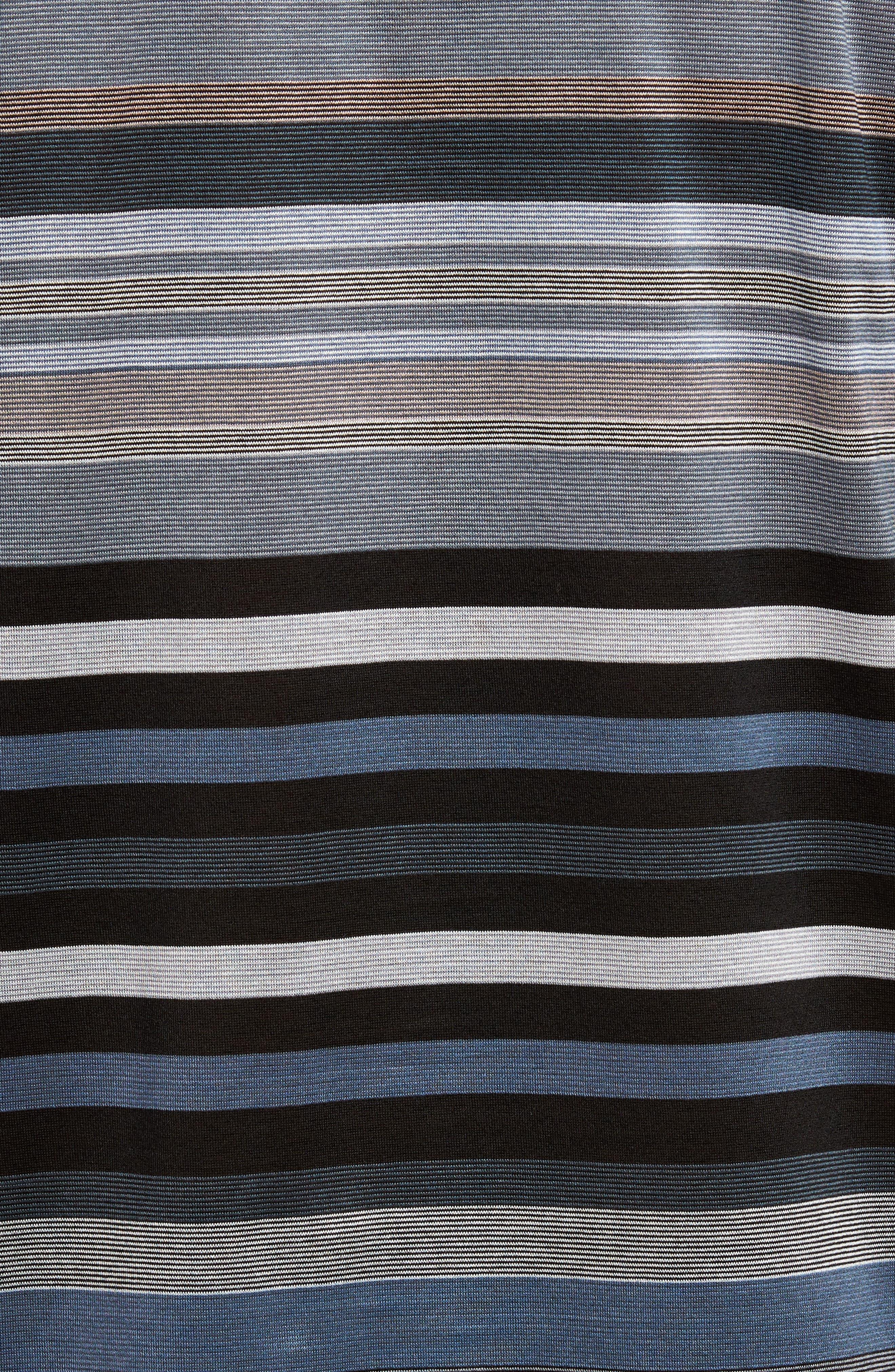 Classic Fit Stripe Polo,                             Alternate thumbnail 5, color,                             Black
