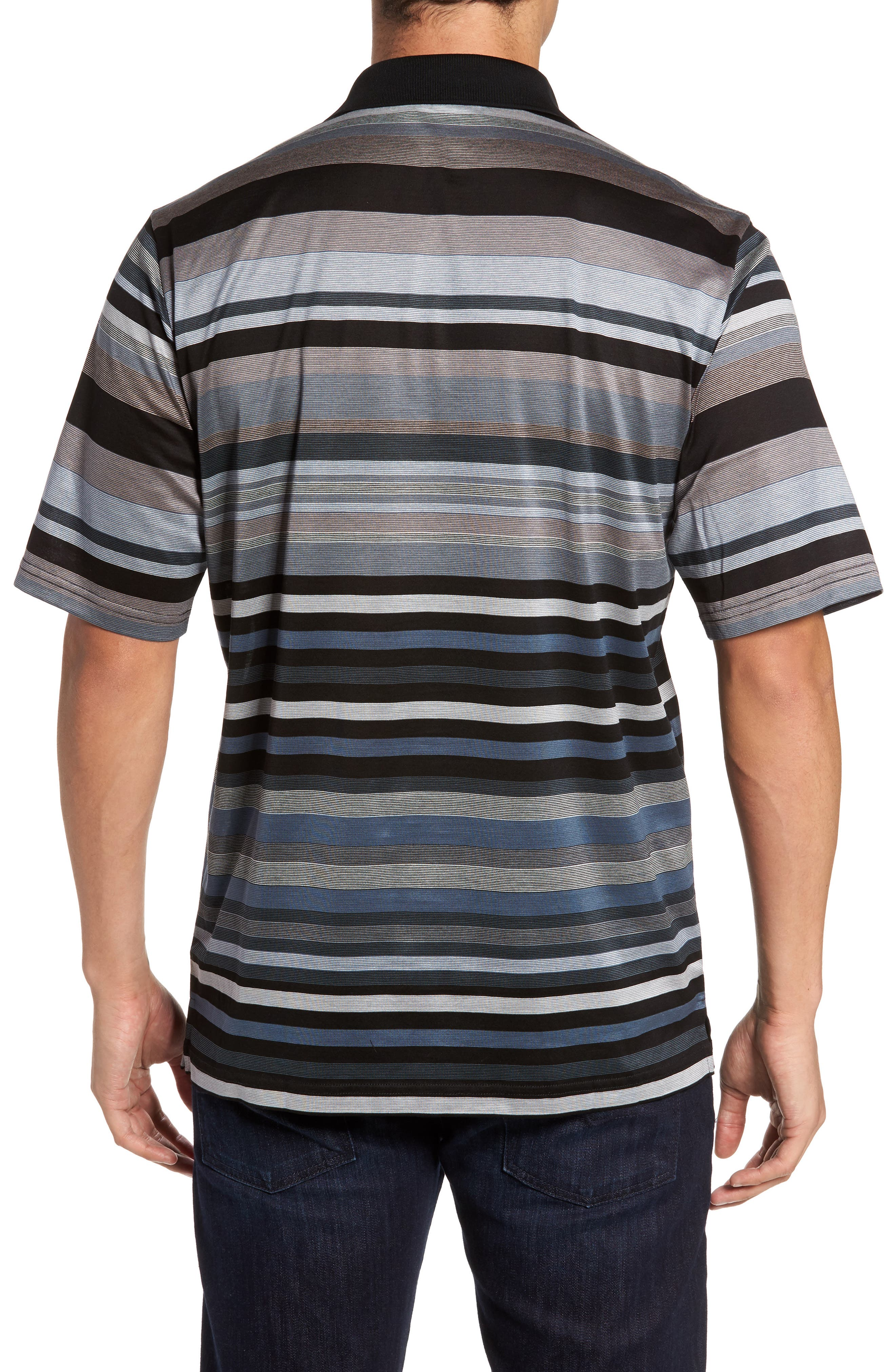Classic Fit Stripe Polo,                             Alternate thumbnail 2, color,                             Black