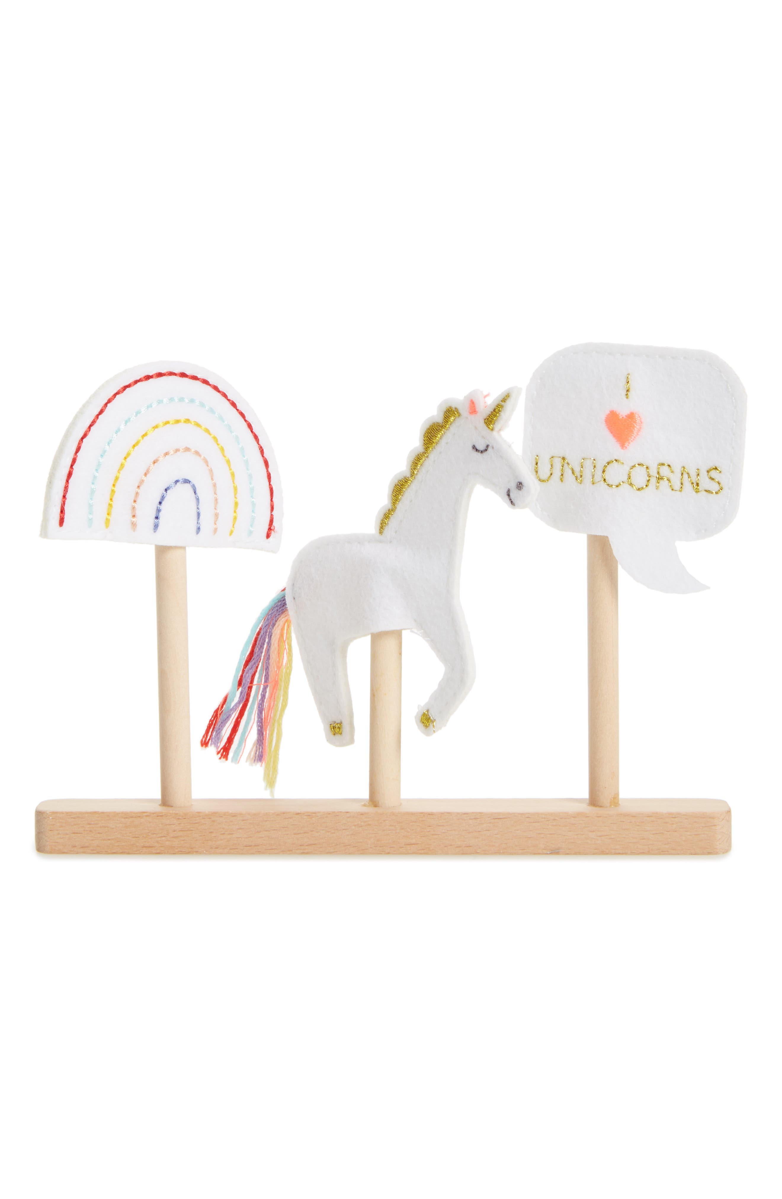 Set of 3 Unicorn Finger Puppets,                         Main,                         color, Multi