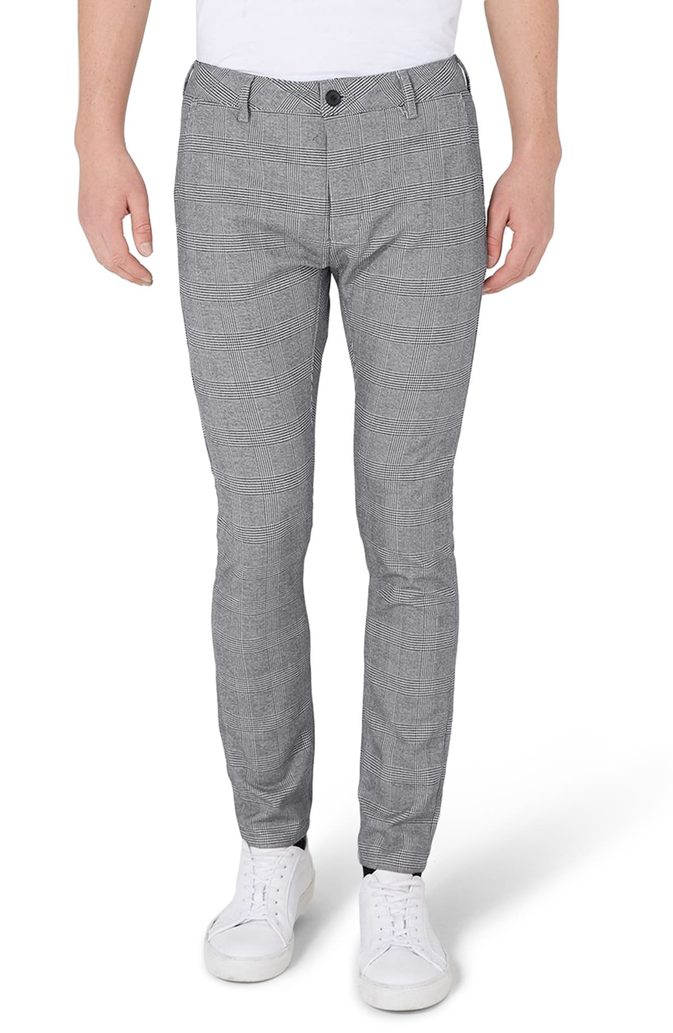 Main Image - Topman Stretch Skinny Fit Check Trousers