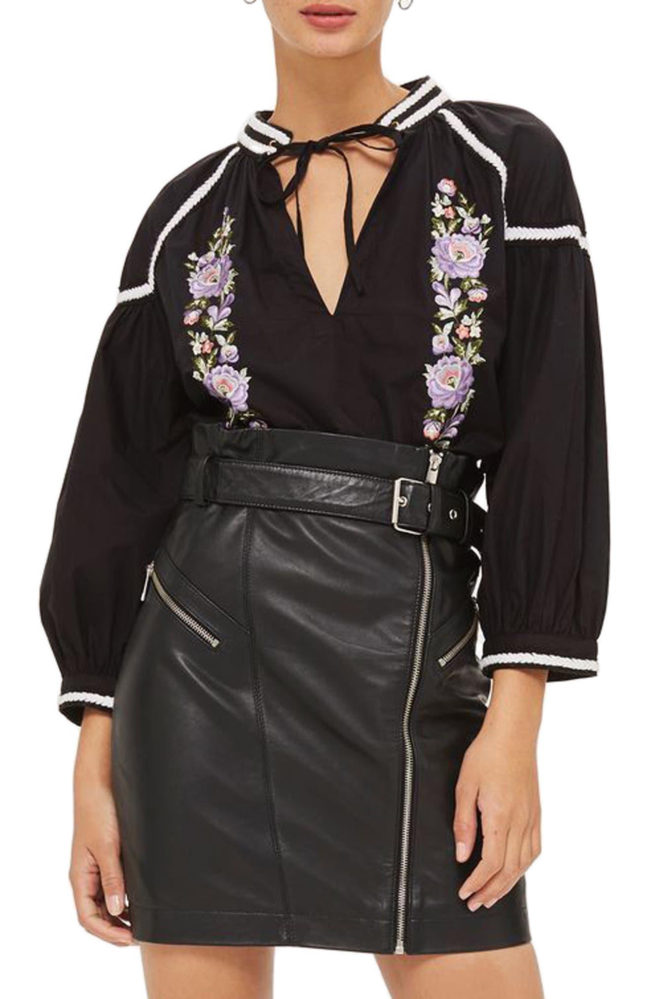 Embroidered Poplin Tie Neck Top,                         Main,                         color, Black