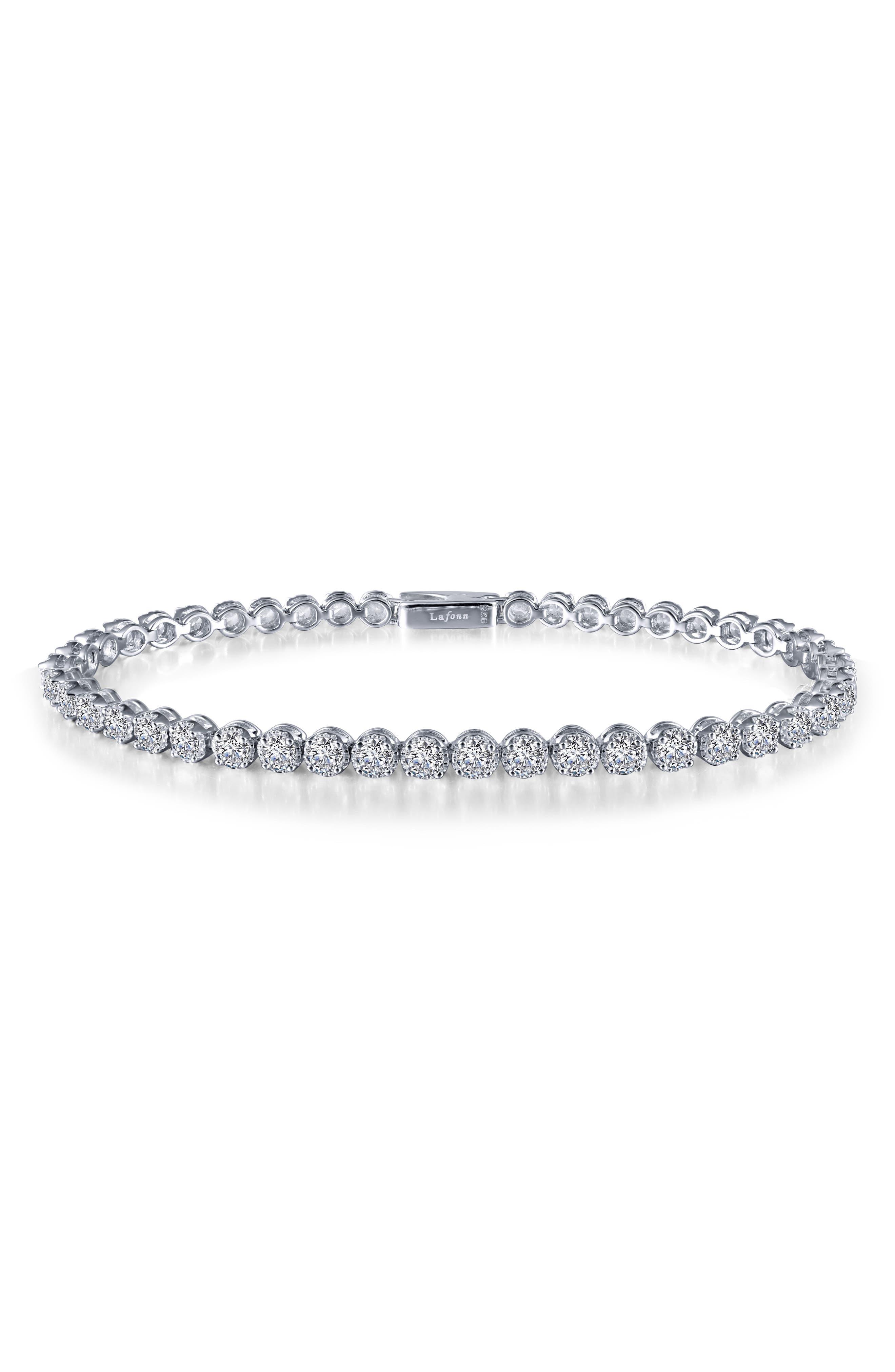 Simulated Diamond Tennis Bracelet,                         Main,                         color, Silver/ Clear