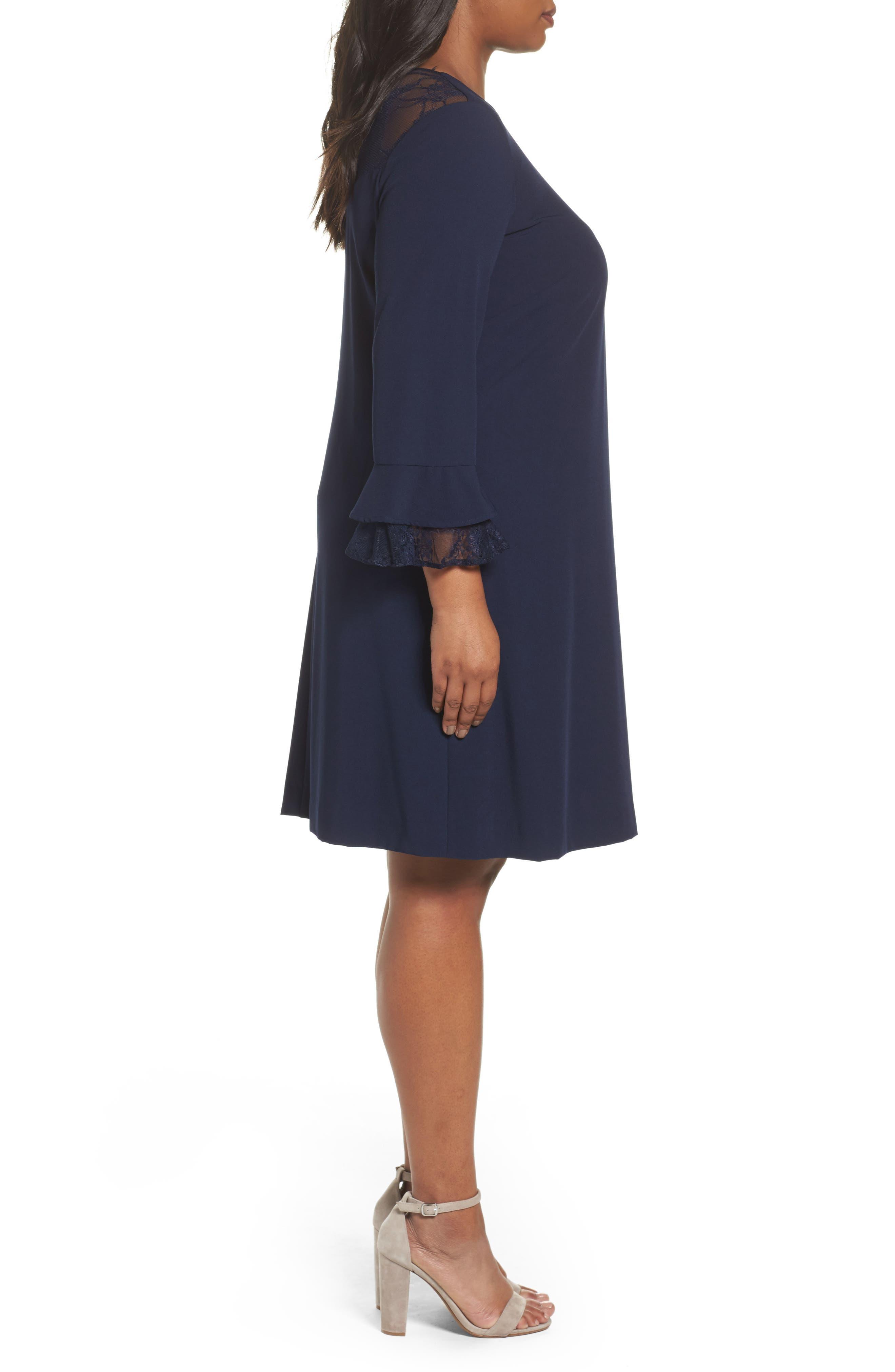 Alternate Image 3  - Tahari Lace Trim Shift Dress (Plus Size)
