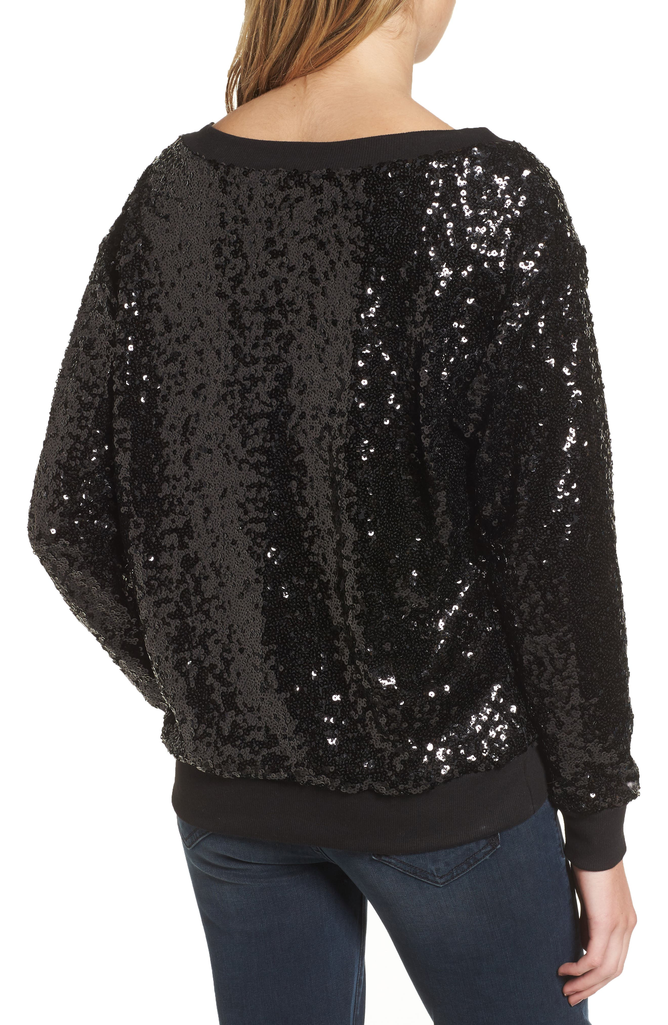 Sequin Sweatshirt,                             Alternate thumbnail 2, color,                             Black
