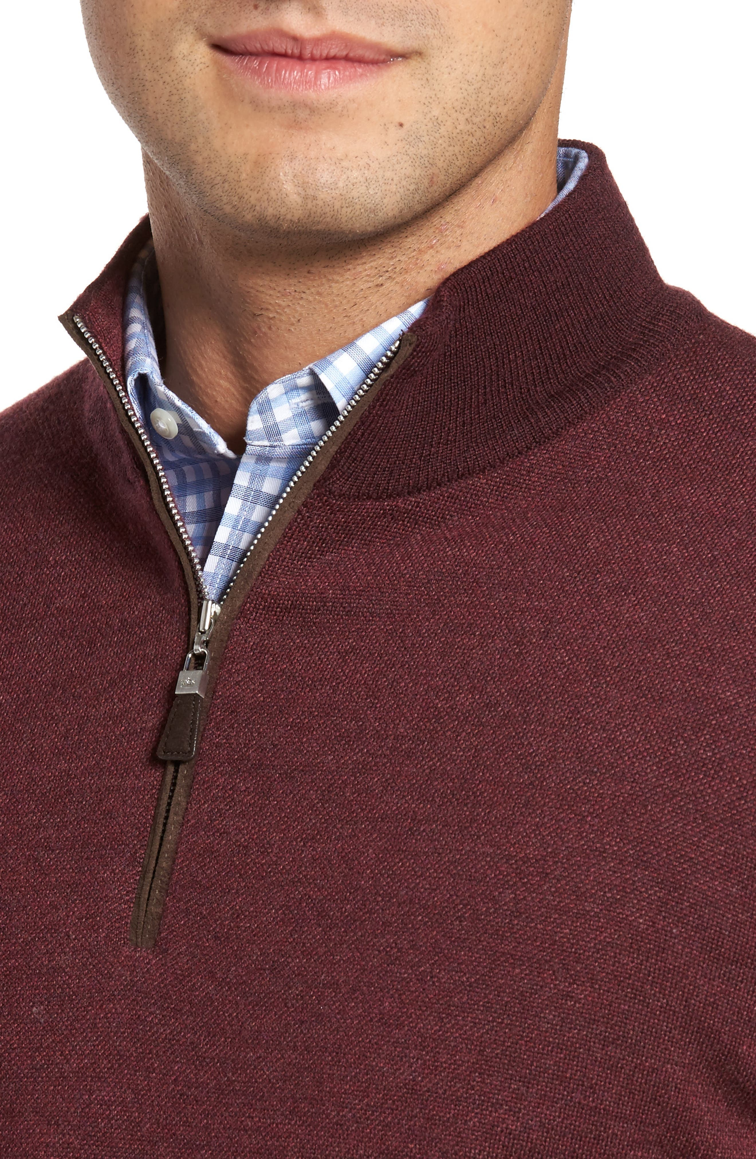 Quarter Zip Wool Pullover,                             Alternate thumbnail 4, color,                             French Wine