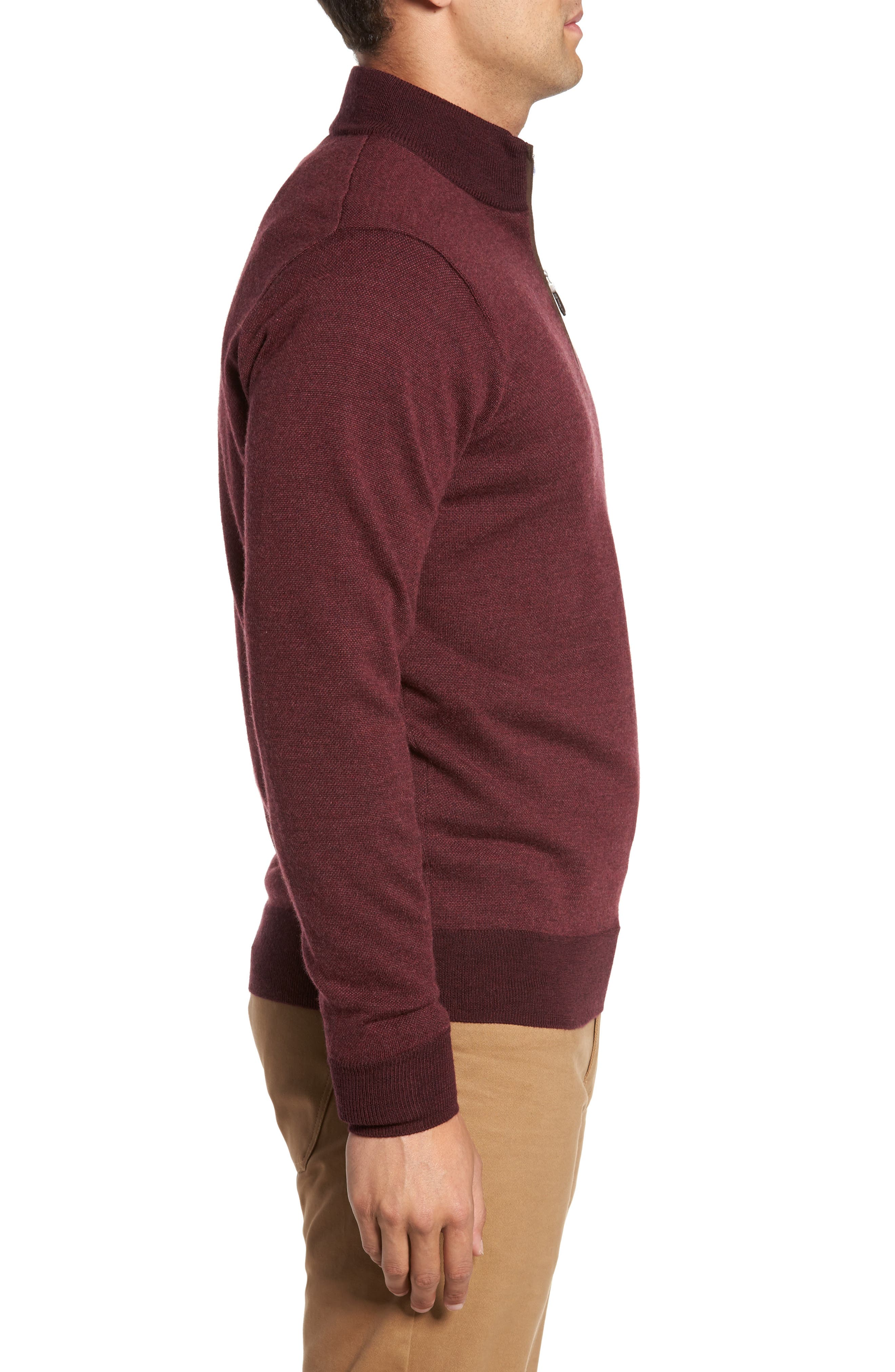 Quarter Zip Wool Pullover,                             Alternate thumbnail 3, color,                             French Wine