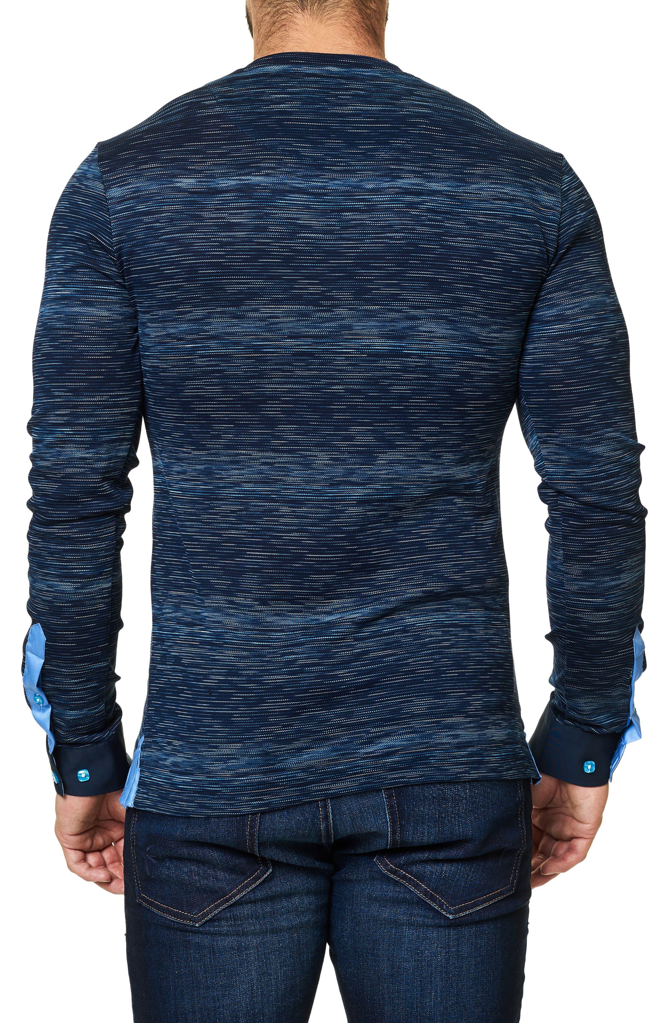 Stripe Long Sleeve V-Neck,                             Alternate thumbnail 2, color,                             Navy Blue