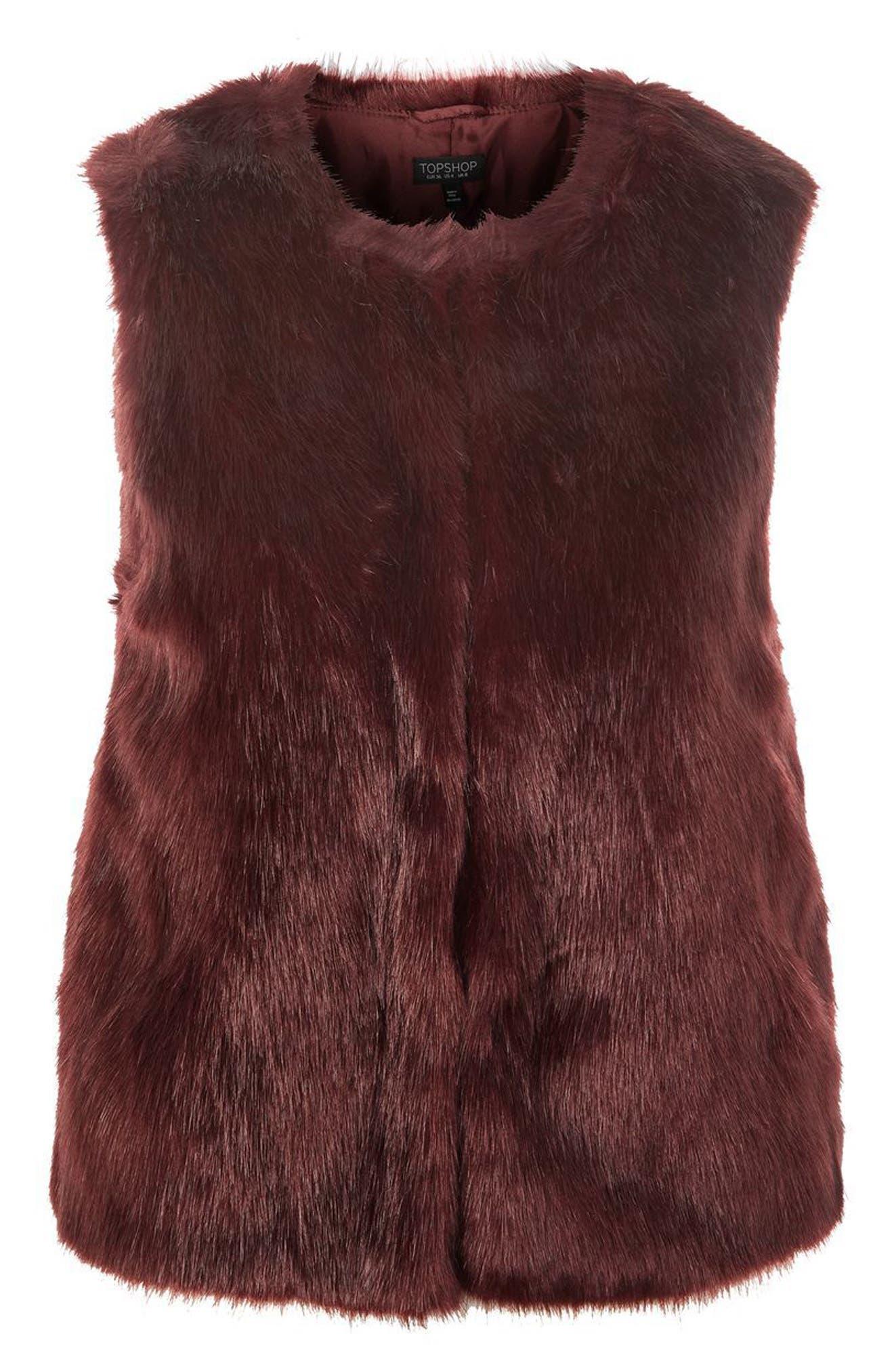 Clair Faux Fur Vest,                             Alternate thumbnail 4, color,                             Burgundy