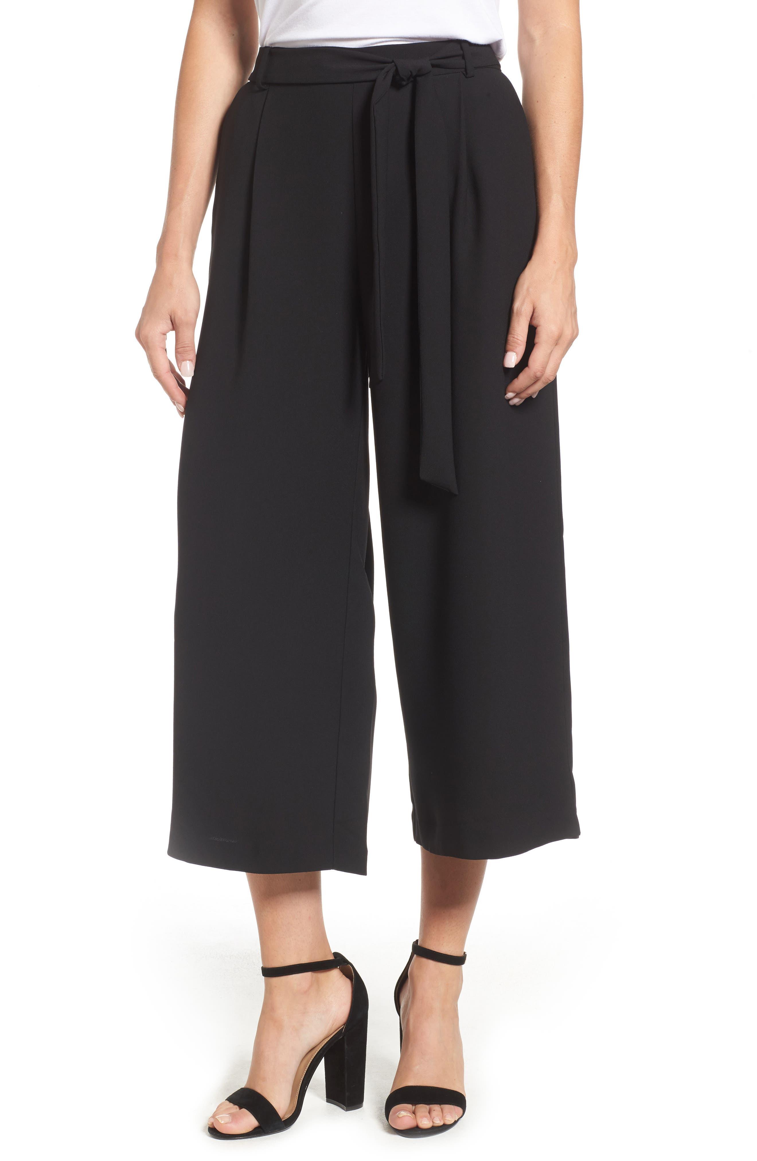 Carver Crop Wide Leg Pants,                         Main,                         color, Black Beauty