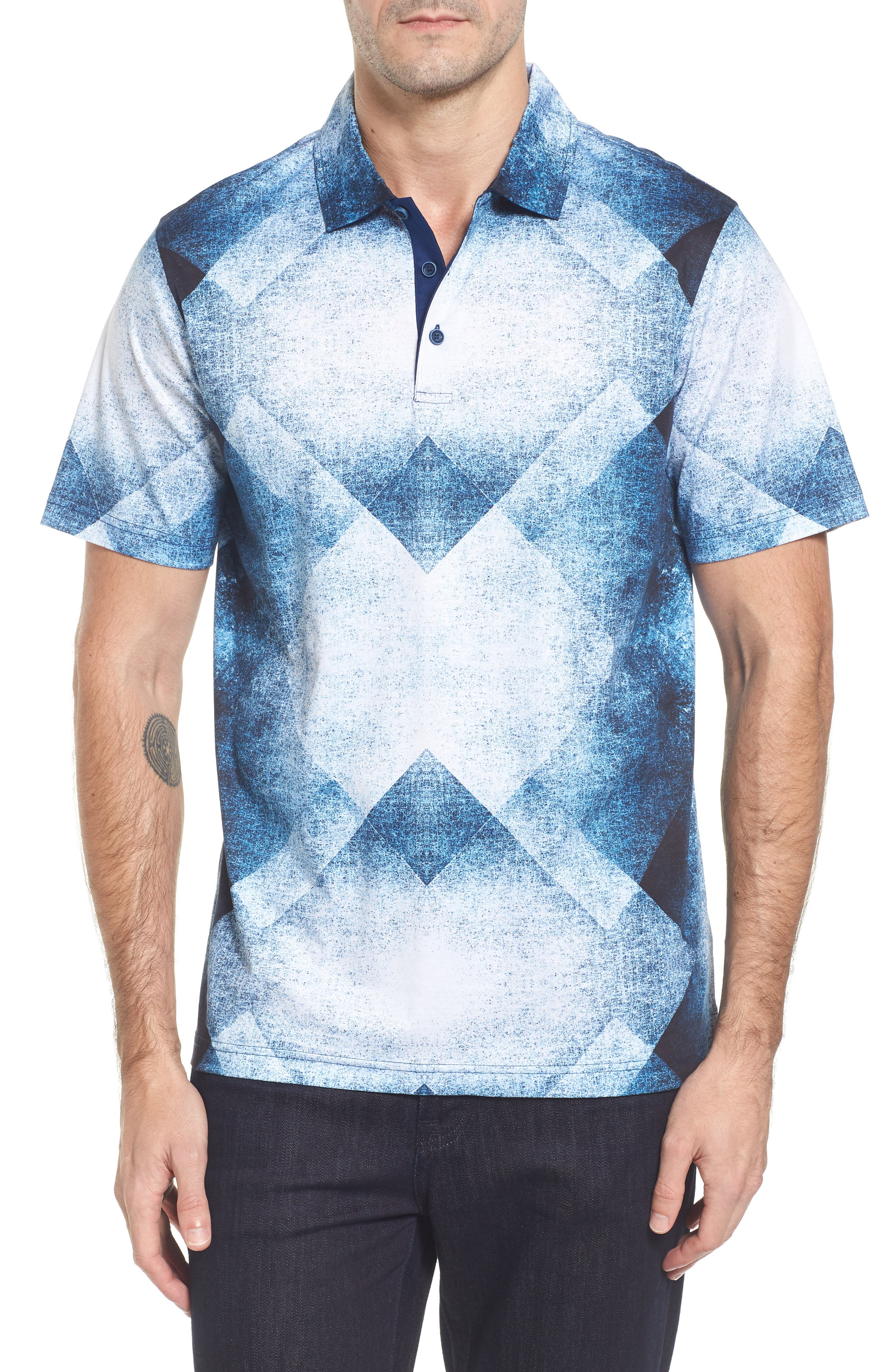 Classic Fit Geo Batik Polo,                         Main,                         color, White