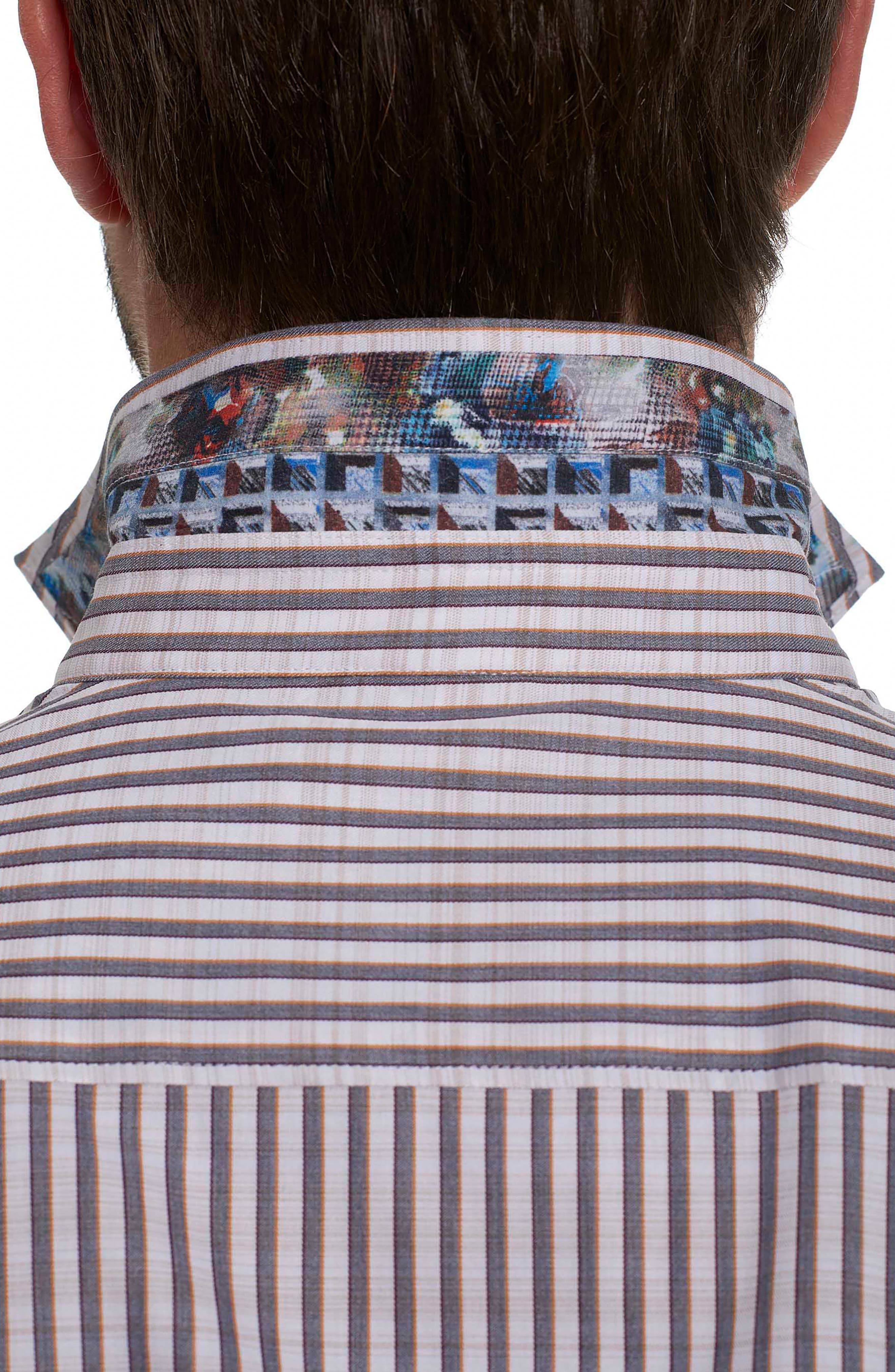 Marion Classic Fit Stripe Sport Shirt,                             Alternate thumbnail 3, color,                             Cream