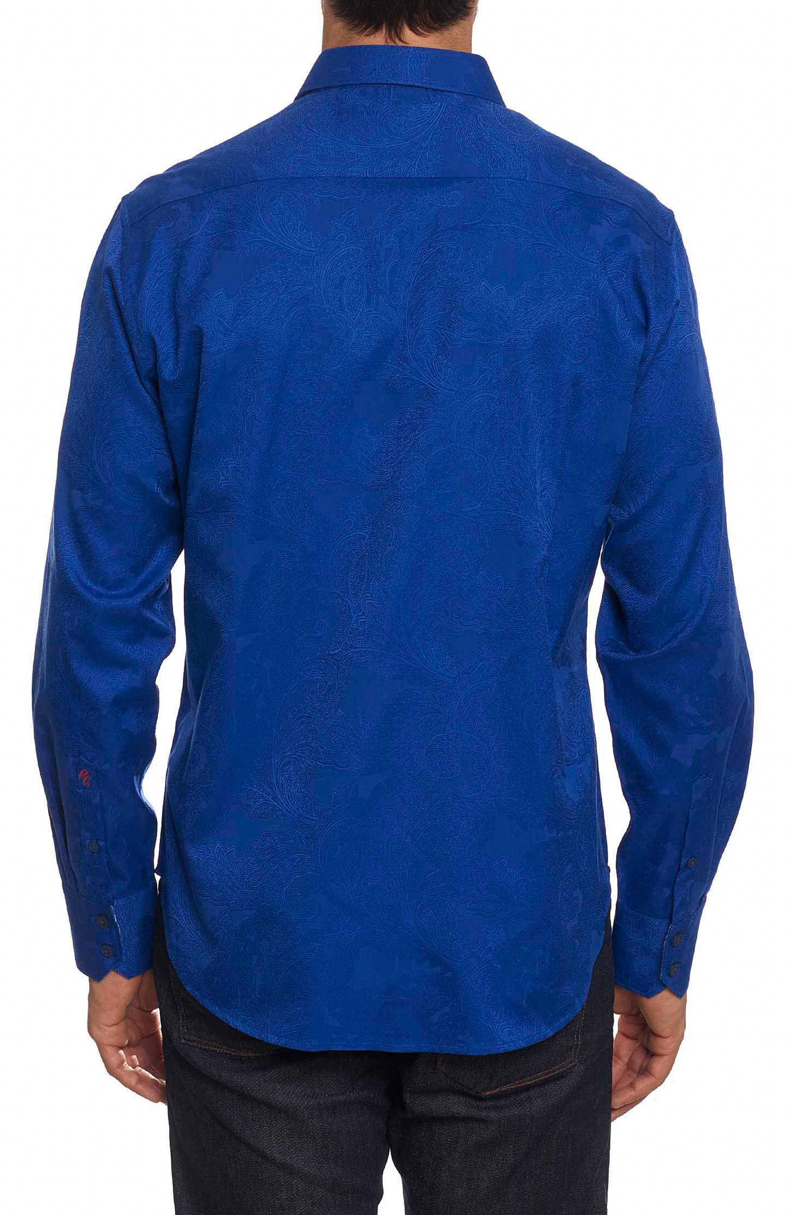 Rosendale Classic Fit Jacquard Sport Shirt,                             Alternate thumbnail 2, color,                             Cobalt