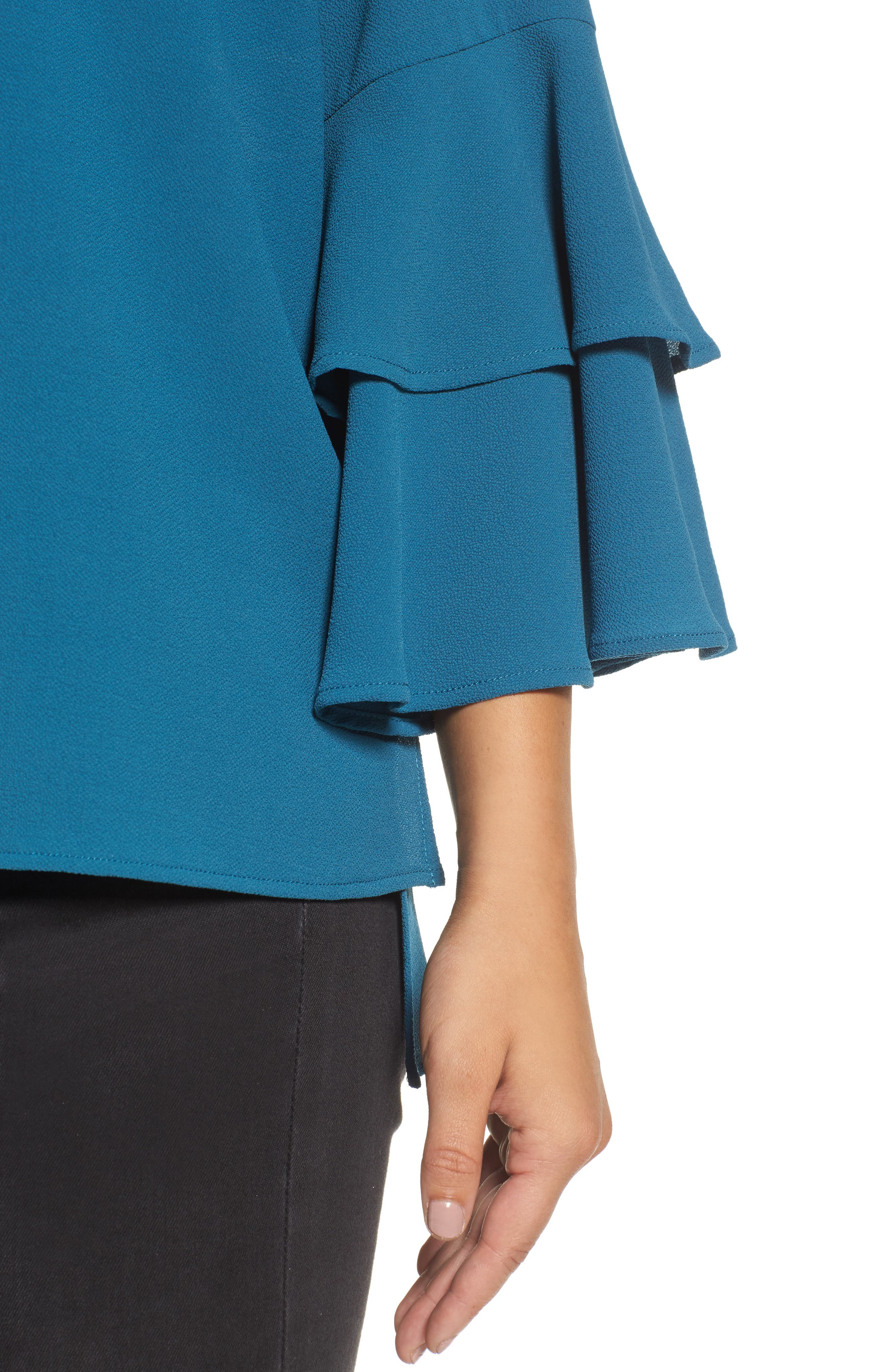 Ruffle Bell Sleeve High/Low Tunic,                             Alternate thumbnail 4, color,                             Peacock Teal