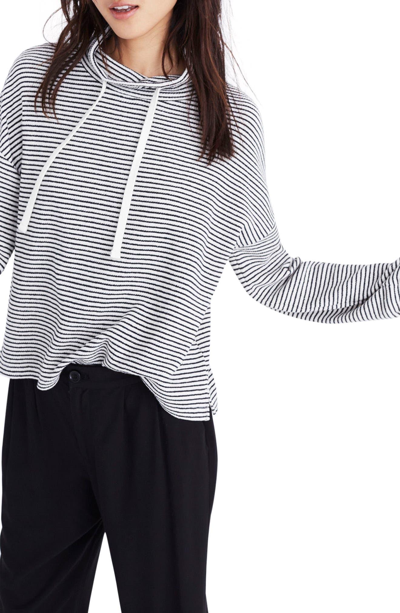 Stripe Funnel Neck Tie Sleeve Sweatshirt,                             Alternate thumbnail 2, color,                             Antique Cream