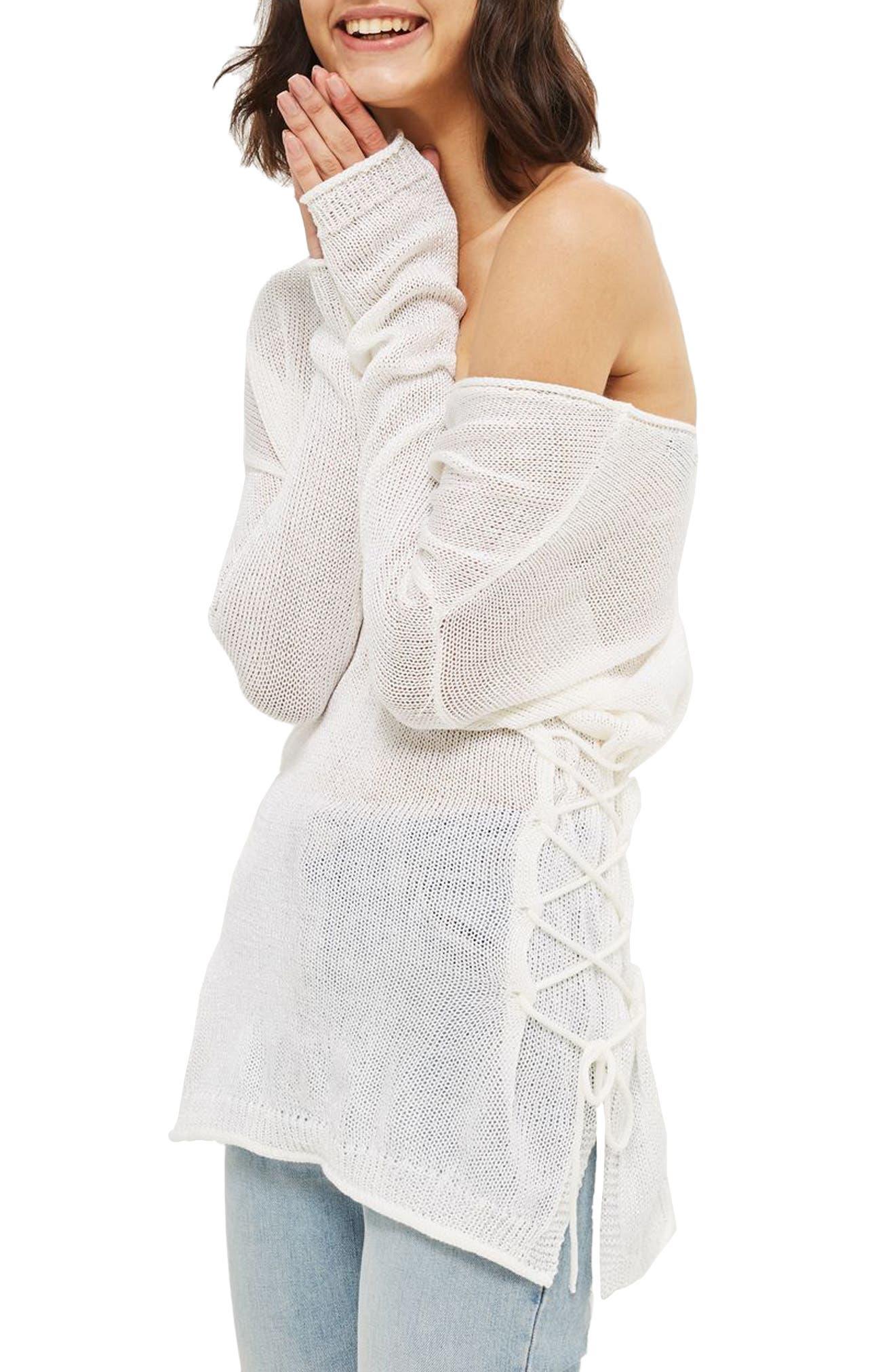 Topshop Lattice Side Longline Sweater