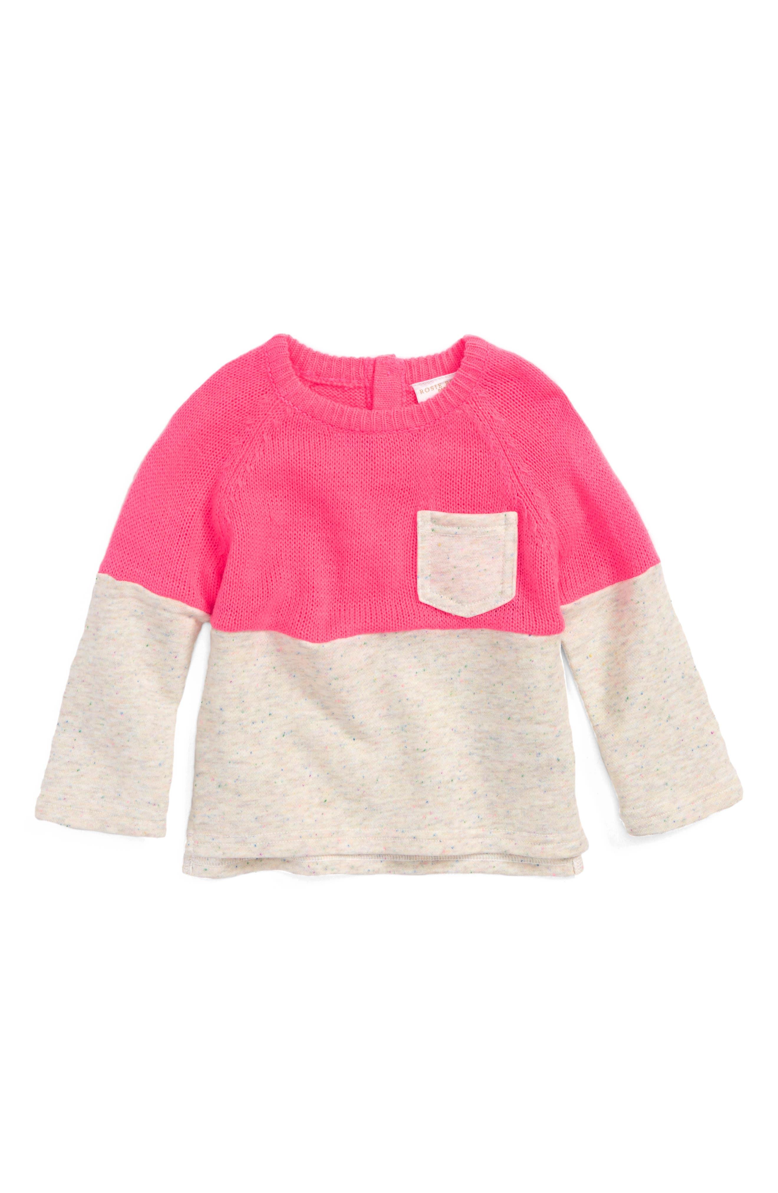 Mixed Sweater,                             Main thumbnail 1, color,                             Pink