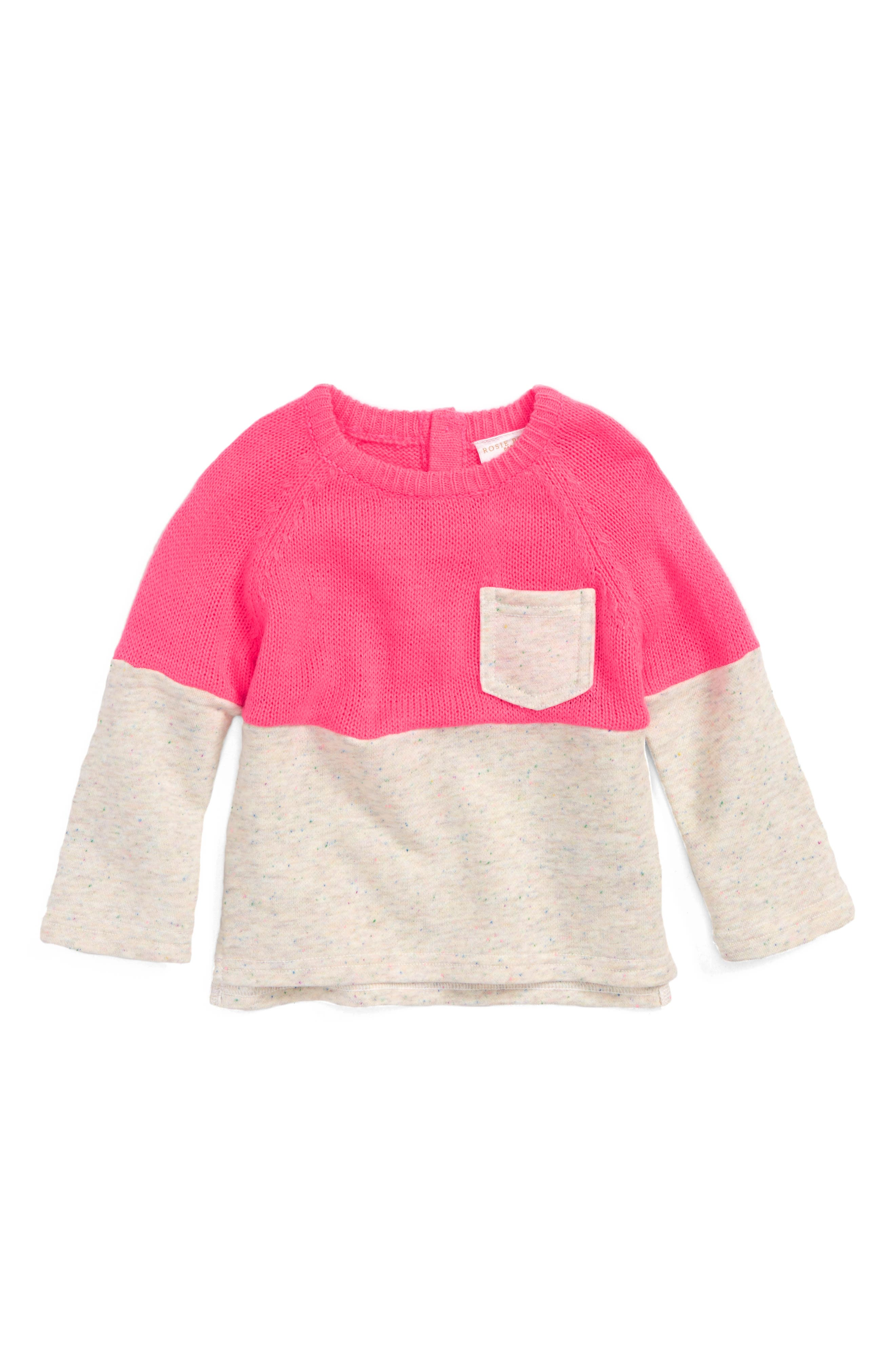 Mixed Sweater,                         Main,                         color, Pink