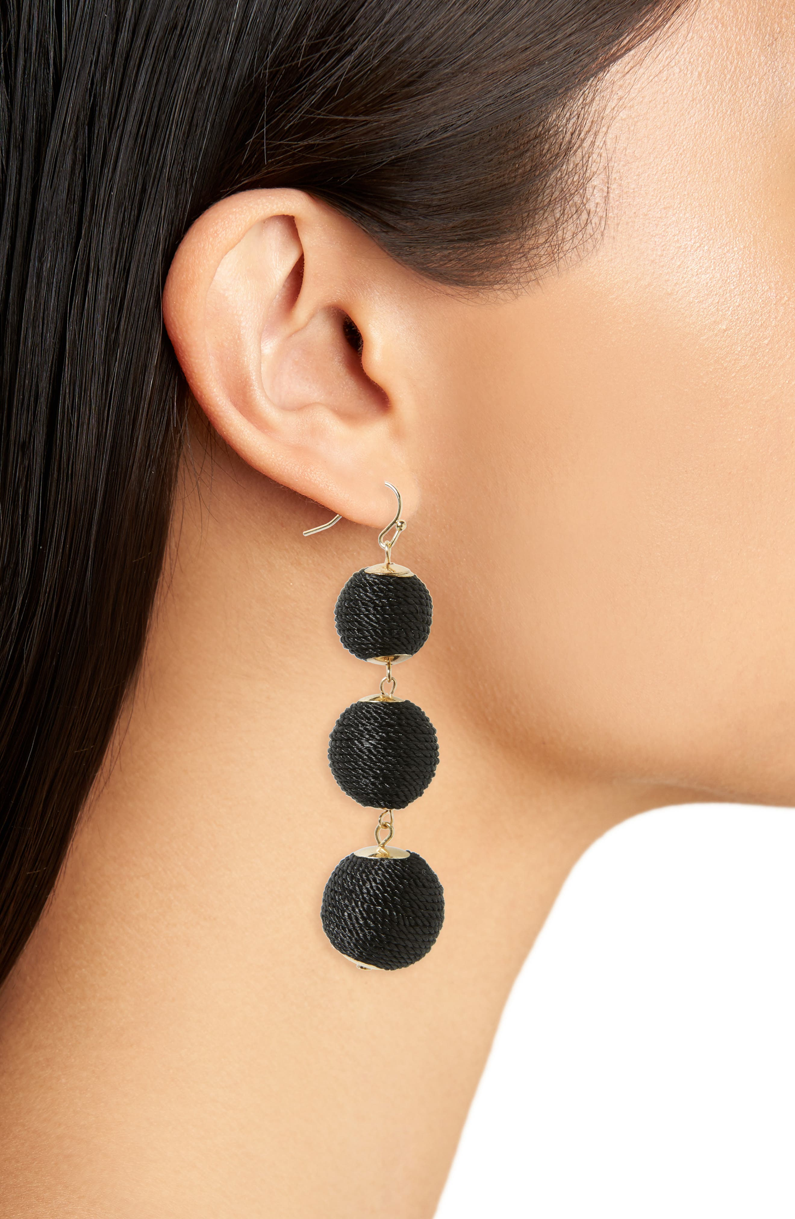 Ball Drop Earrings,                             Alternate thumbnail 2, color,                             Black