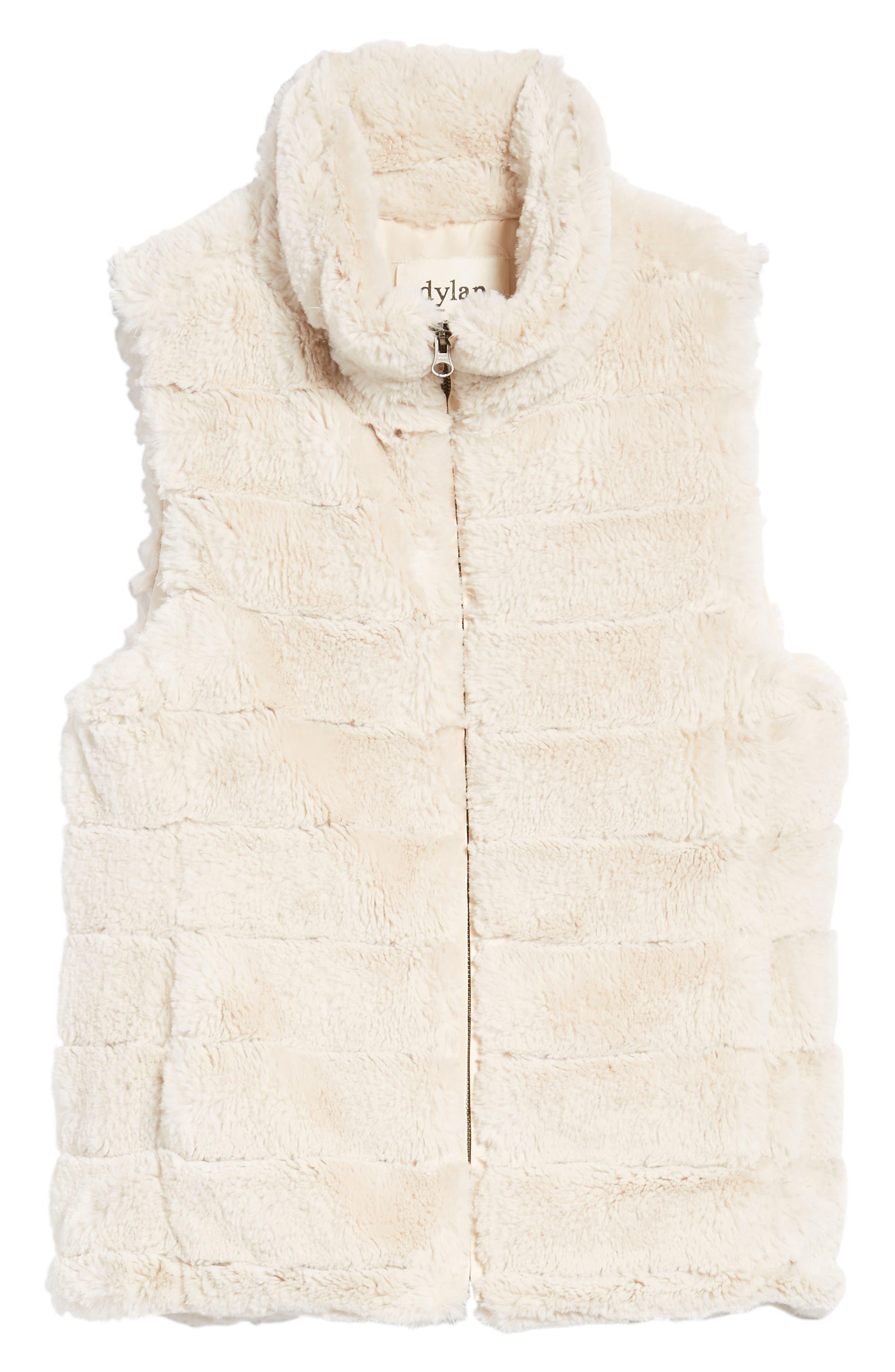 Love Faux Fur Vest,                             Alternate thumbnail 6, color,                             Ivory