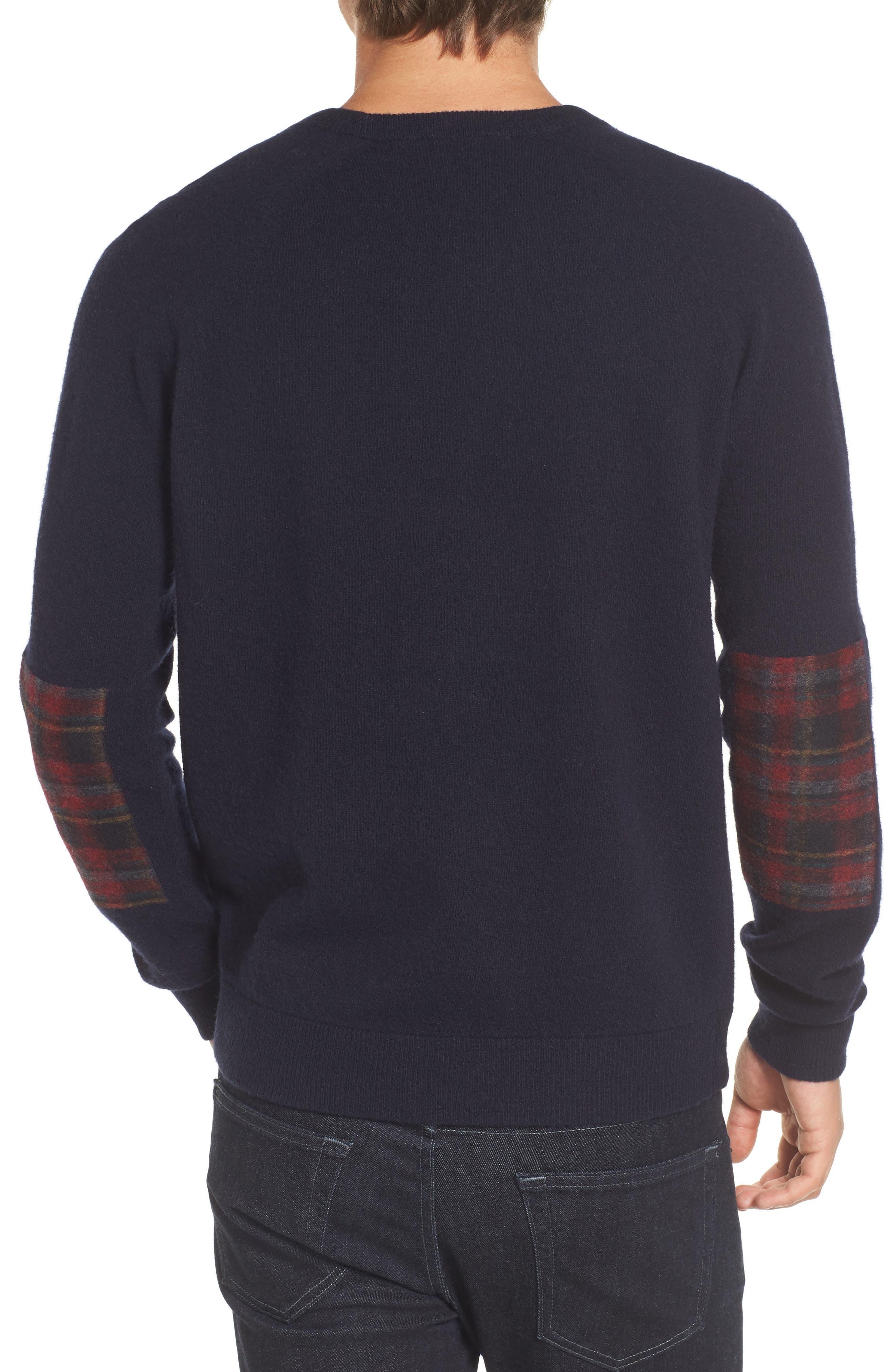 Crewneck Wool Sweater,                             Alternate thumbnail 2, color,                             Marine Blue/ Tartan