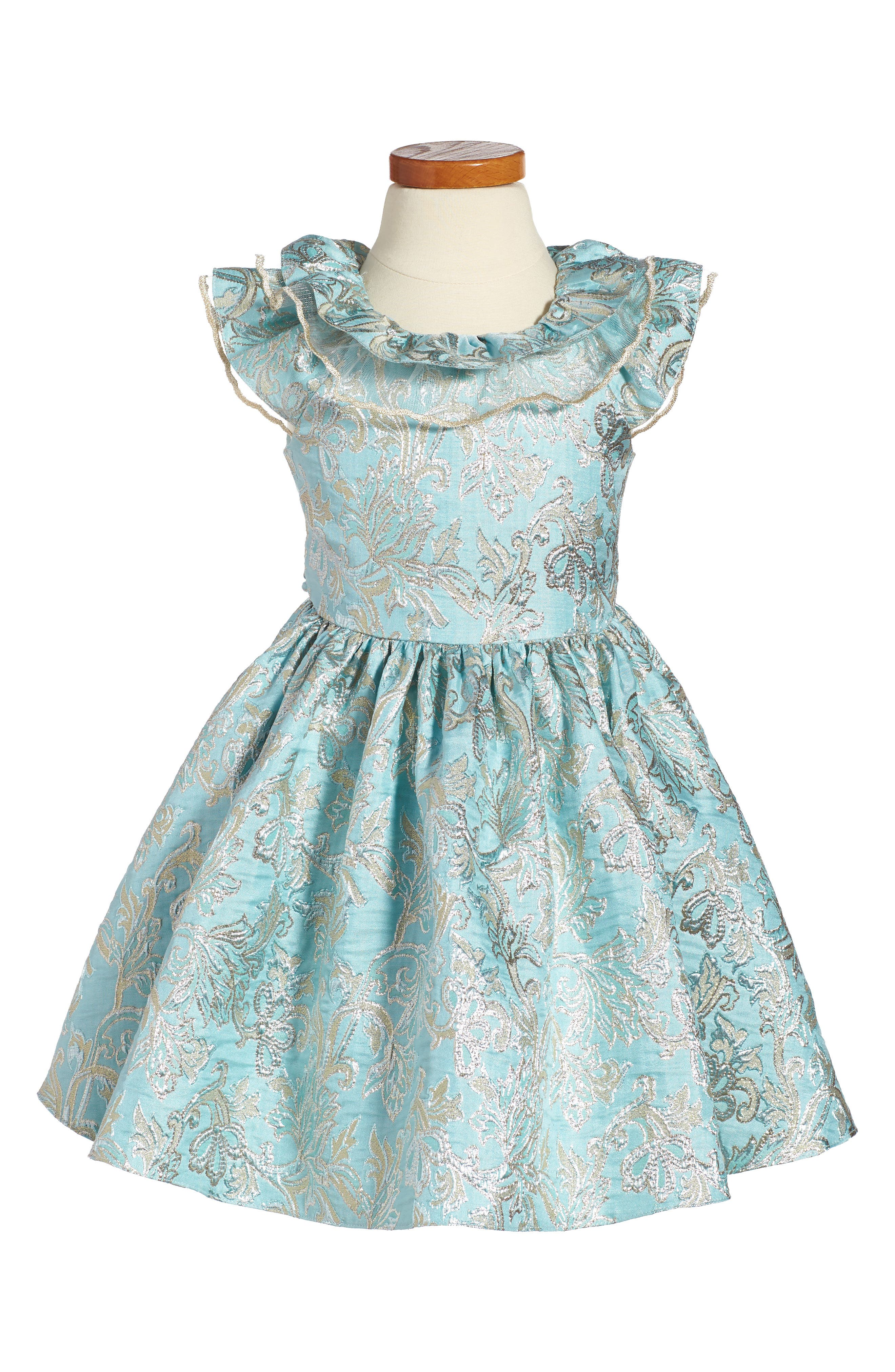 David Chales Ruffle Neck Brocade Dress,                         Main,                         color, Turquoise