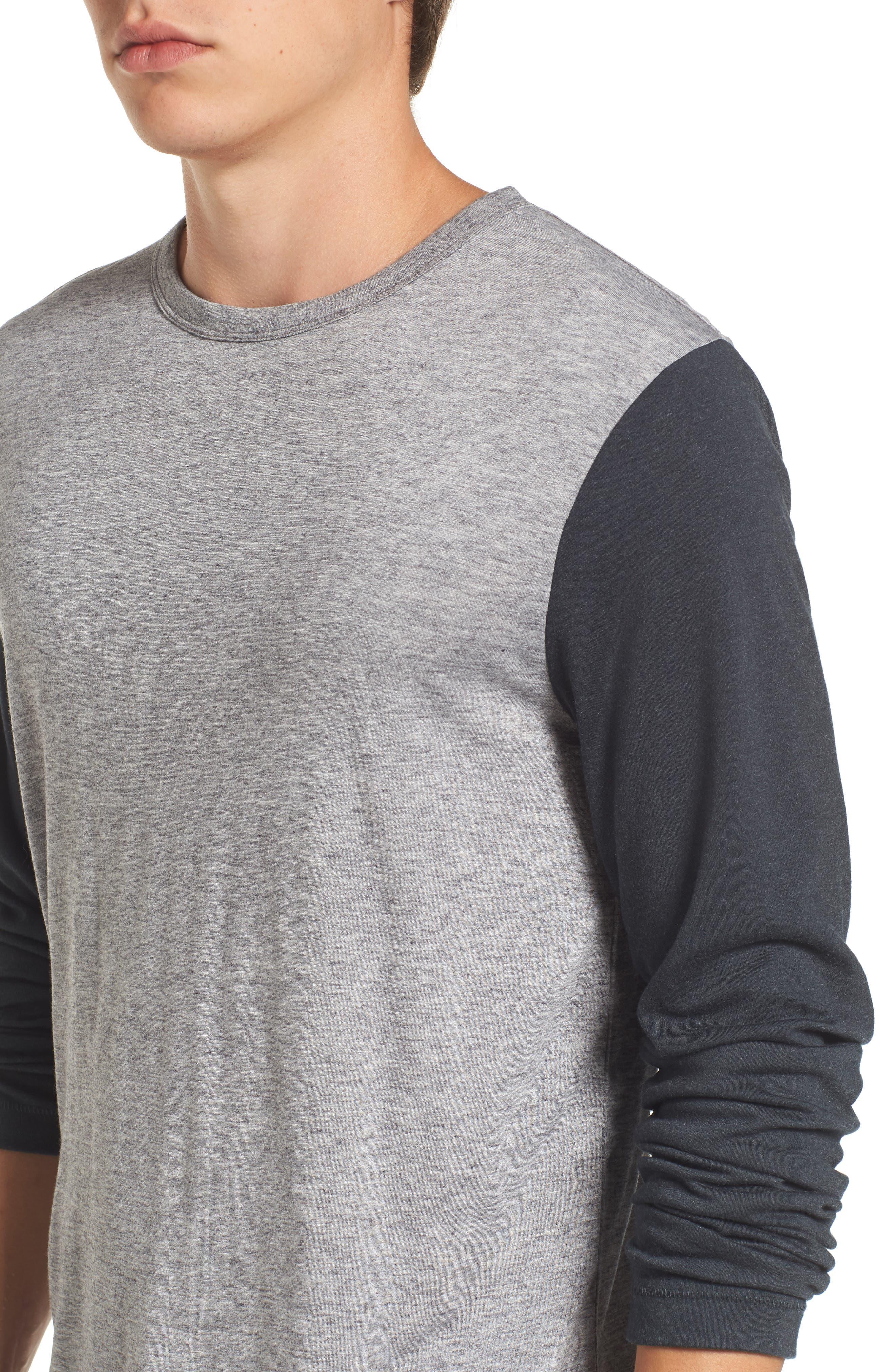 Contrast Long Sleeve T-Shirt,                             Alternate thumbnail 4, color,                             Grey Melange/ Ebony