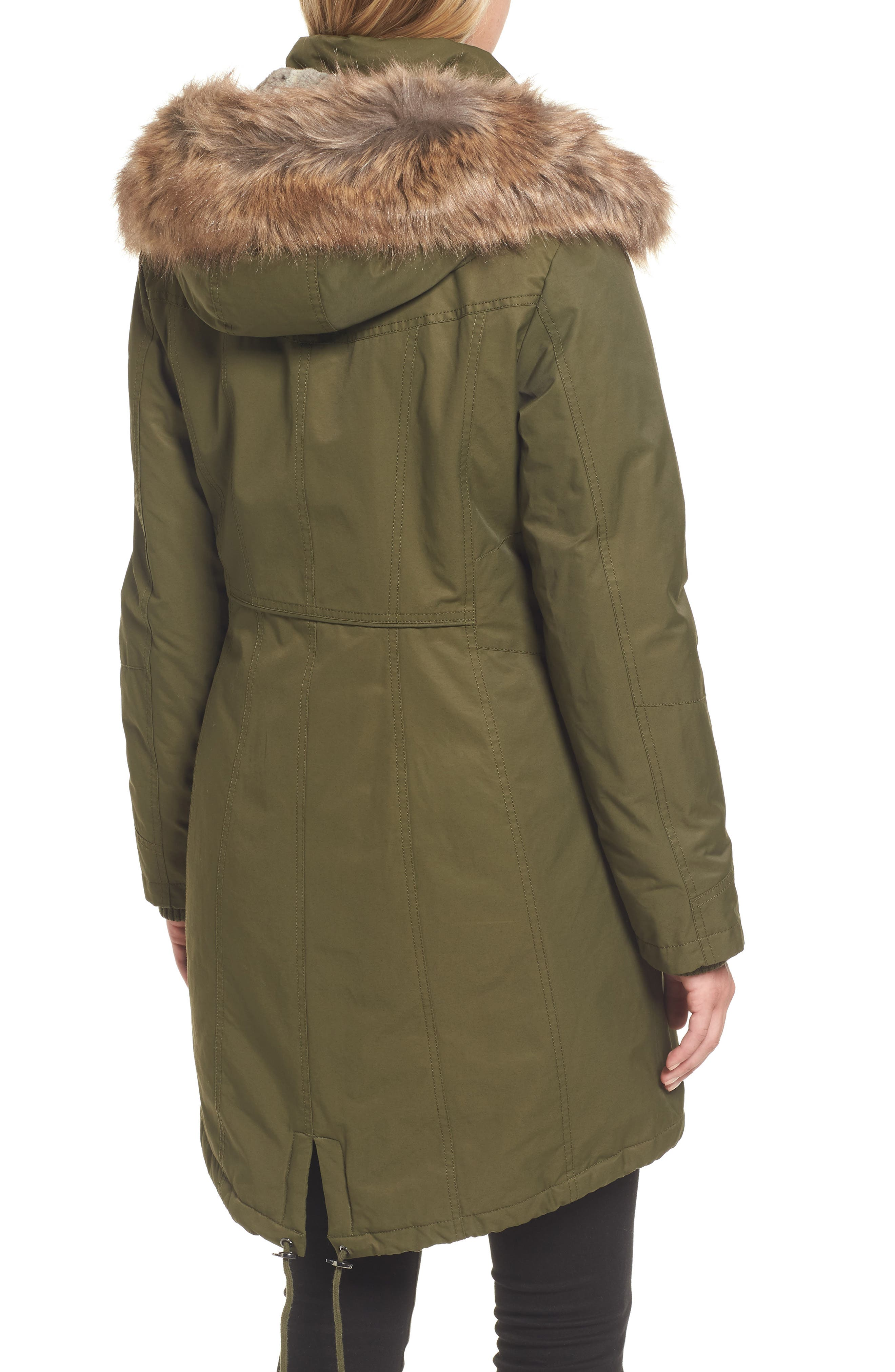 Insulated Parka with Faux Fur Trim,                             Alternate thumbnail 2, color,                             Olive