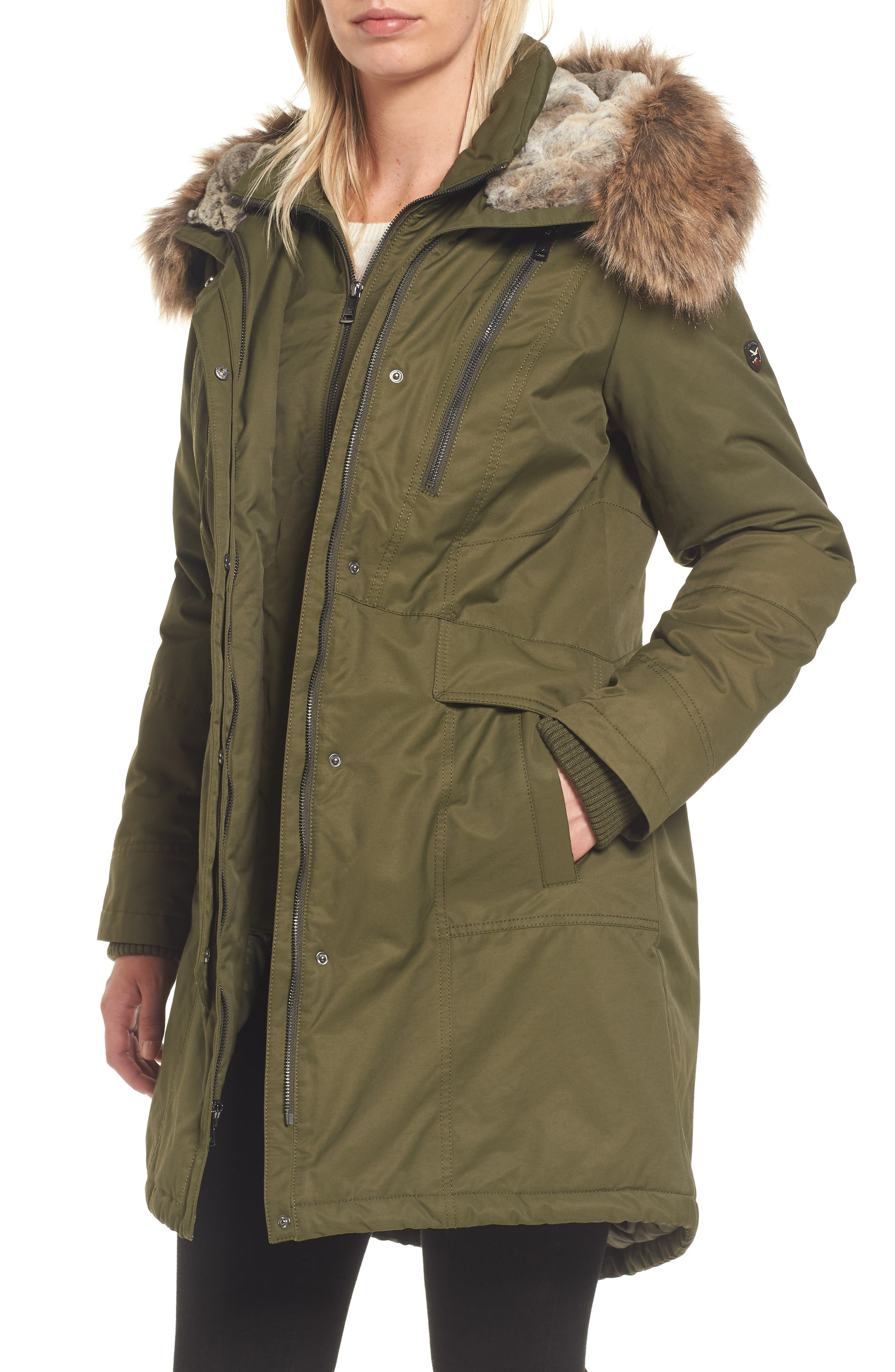 Insulated Parka with Faux Fur Trim,                         Main,                         color, Olive