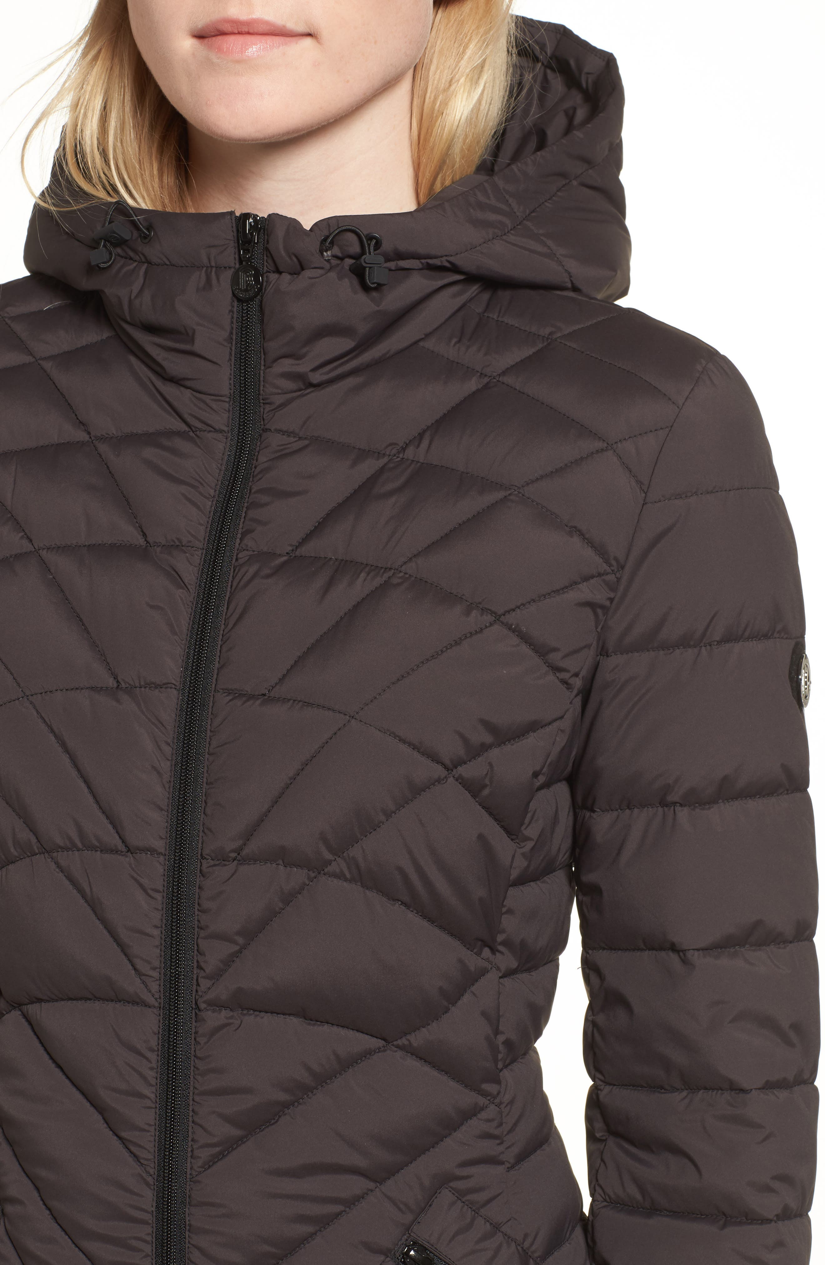 Packable Hooded Down & PrimaLoft<sup>®</sup> Walker Jacket,                             Alternate thumbnail 4, color,                             Black